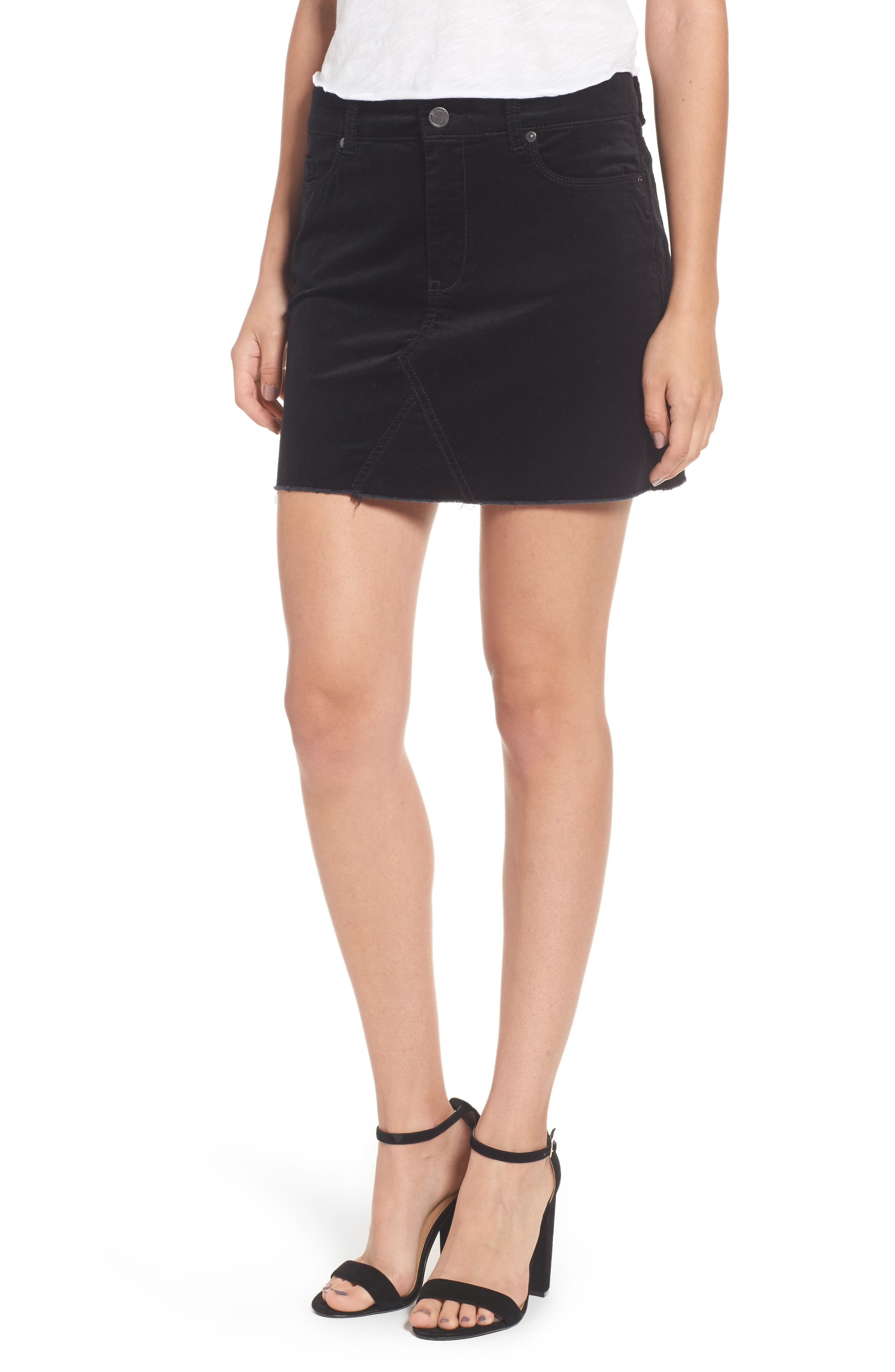 Raw Edge Miniskirt,                         Main,                         color, Raven Feather
