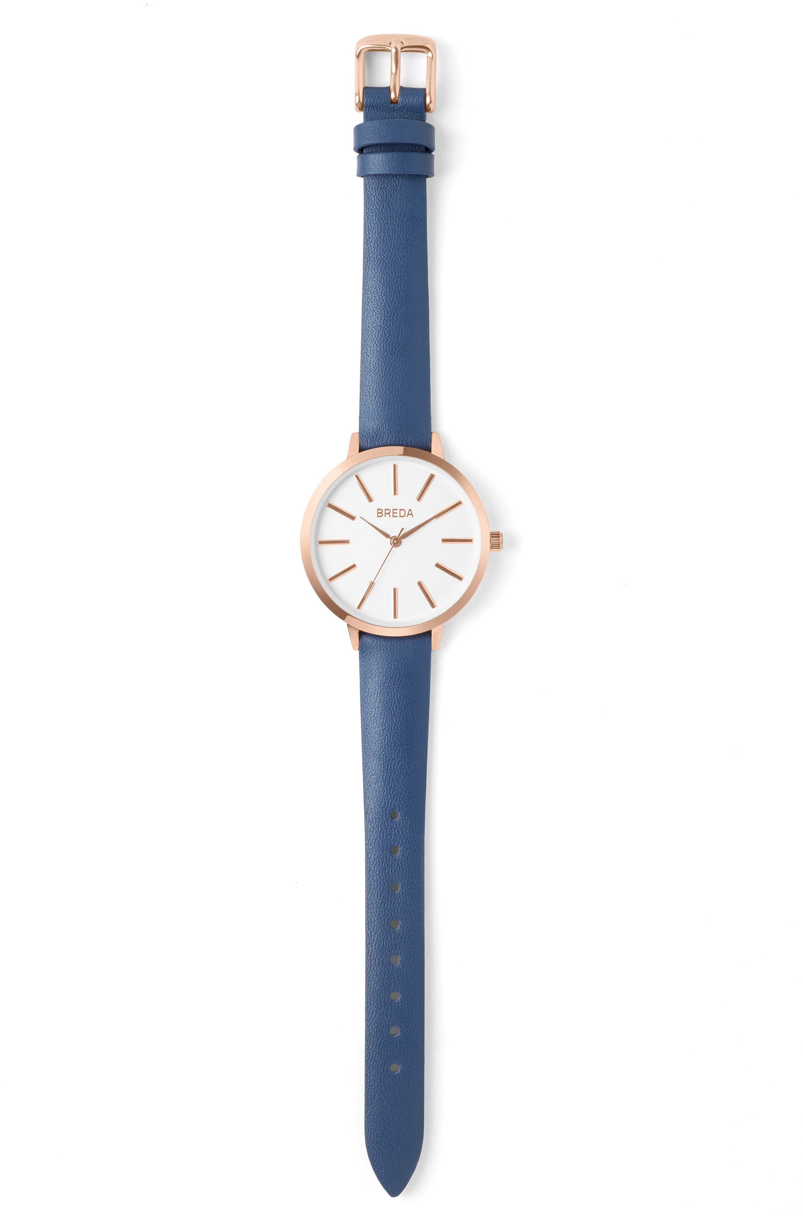 Joule Round Leather Strap Watch, 37mm,                             Alternate thumbnail 3, color,                             Navy/ White/ Rose Gold