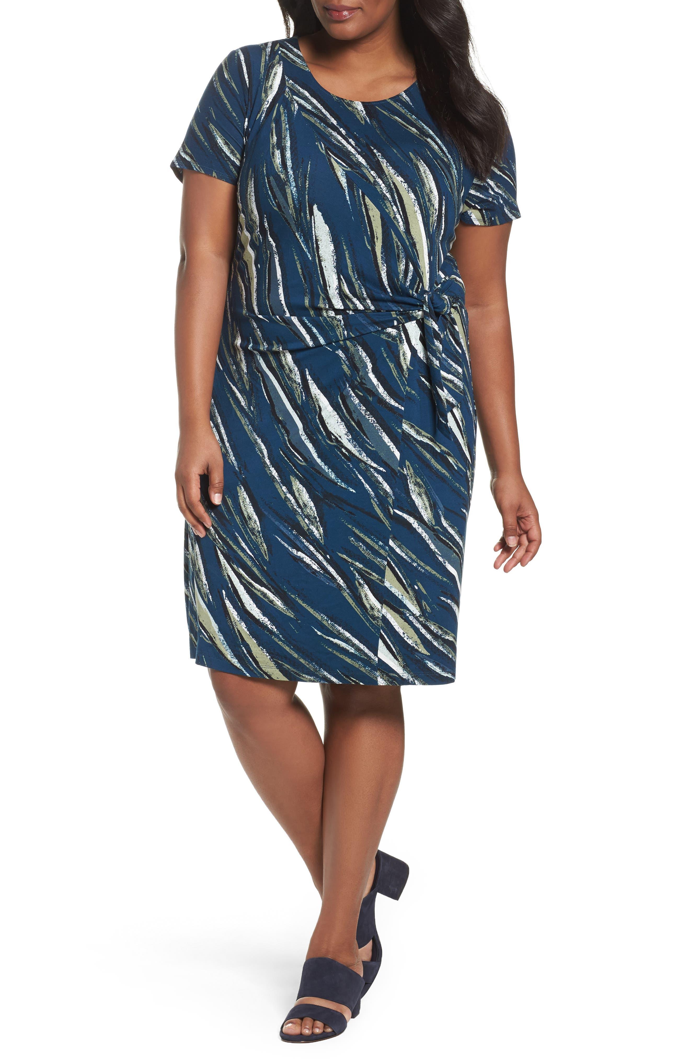 NIC+ZOE Tiger Lily Twist Front Sheath Dress (Plus Size)