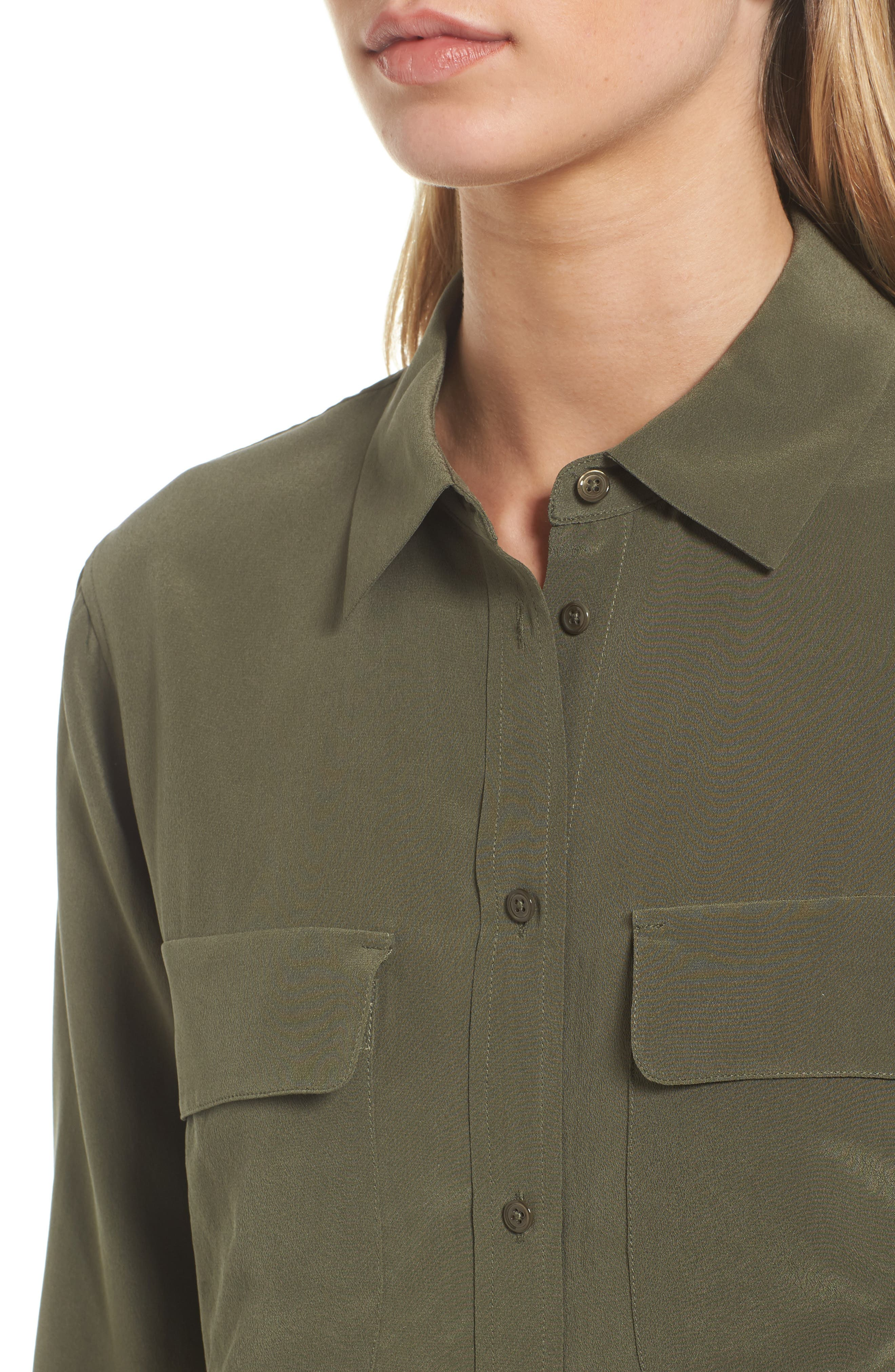 Alena Silk Shirt,                             Alternate thumbnail 4, color,                             Climbing Ivy