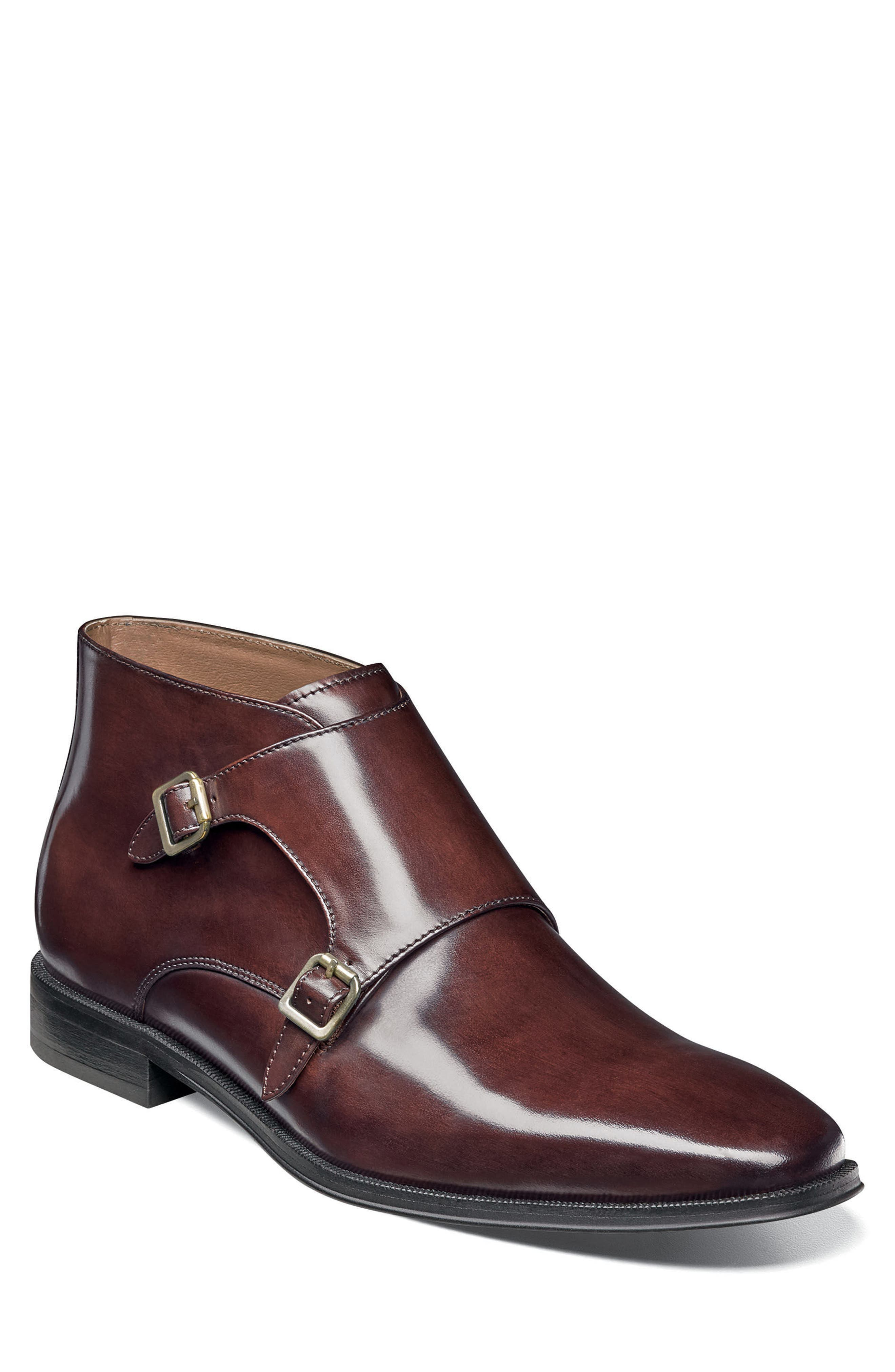 Belfast Double Monk Strap Boot,                             Main thumbnail 1, color,                             Brown Leather