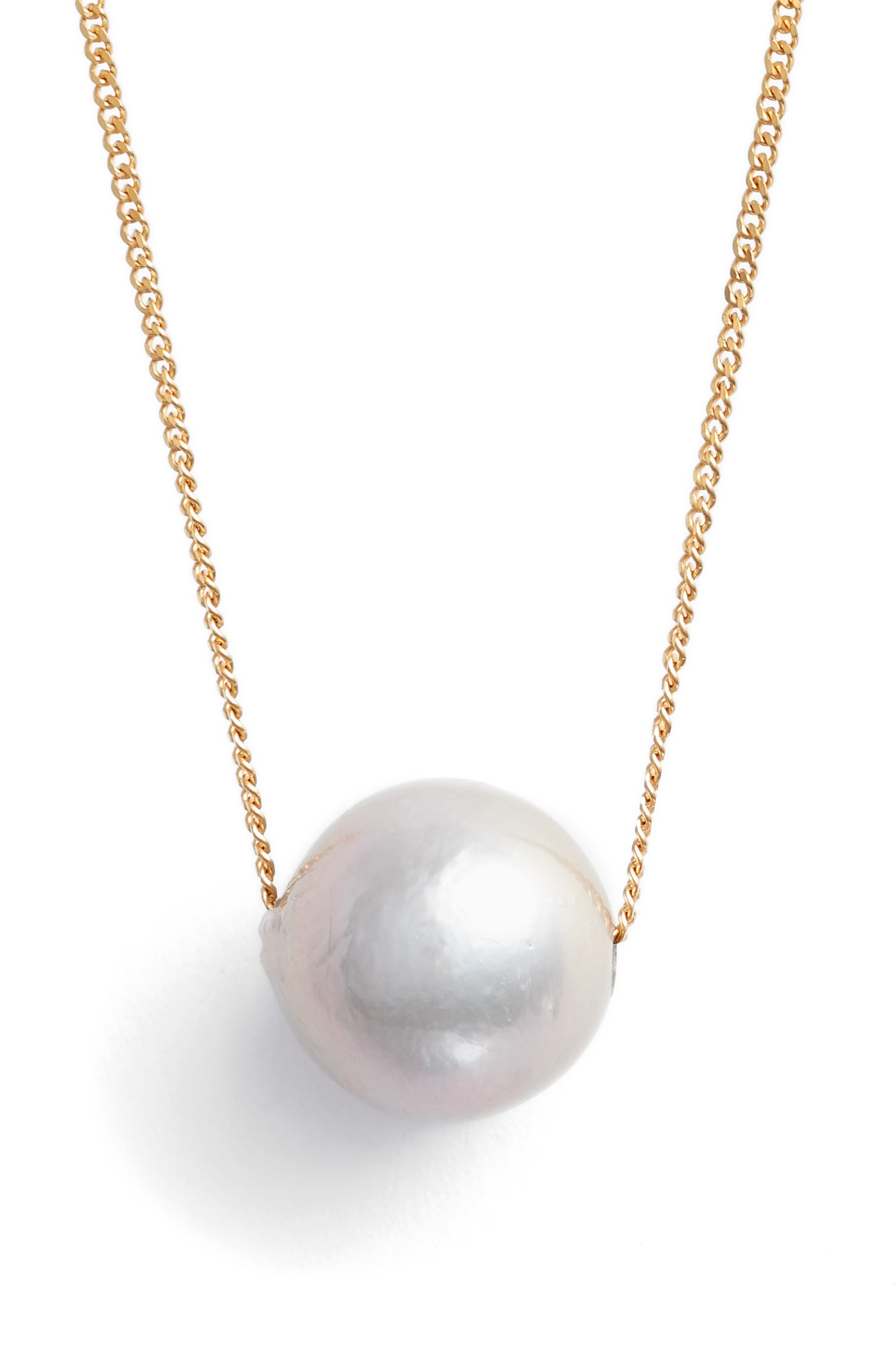 Pearl Pendant Necklace,                         Main,                         color, Grey Pearl
