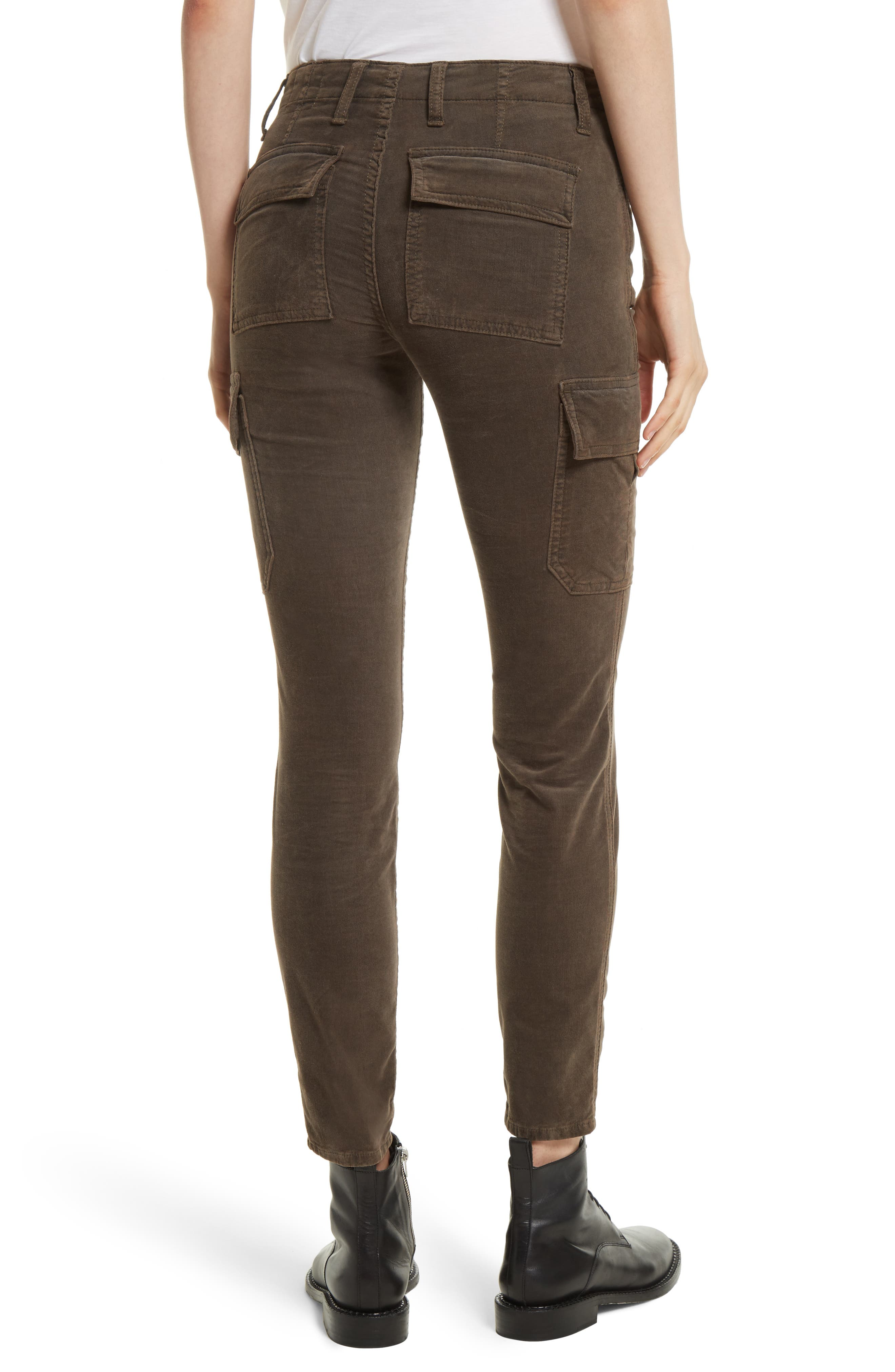 Skinny Corduroy Cargo Pants,                             Alternate thumbnail 3, color,                             Olive