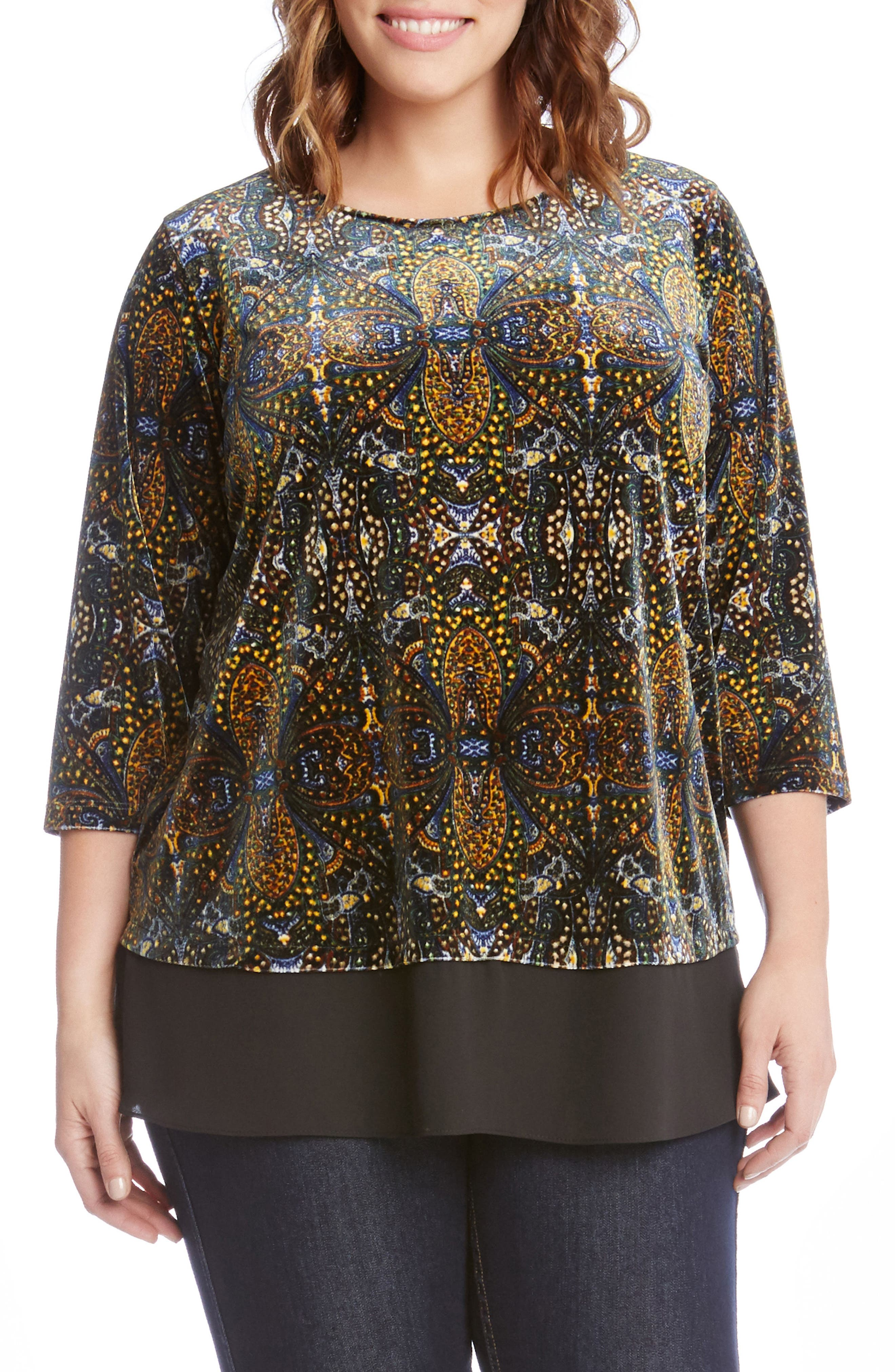 Alternate Image 1 Selected - Karen Kane Contrast Hem Print Velvet Top (Plus Size)