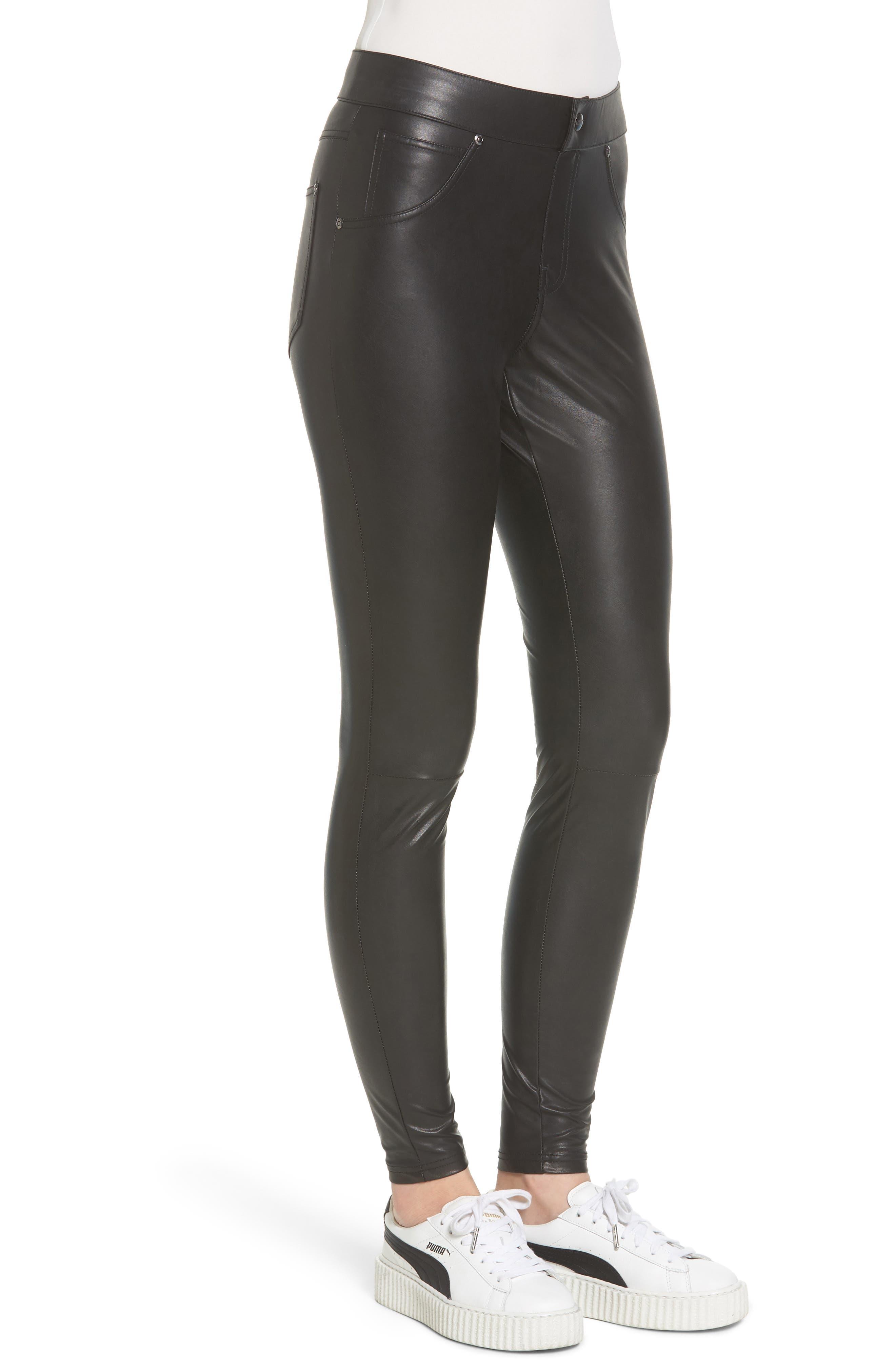 Alternate Image 3  - Hue Leatherette Curvy Leggings
