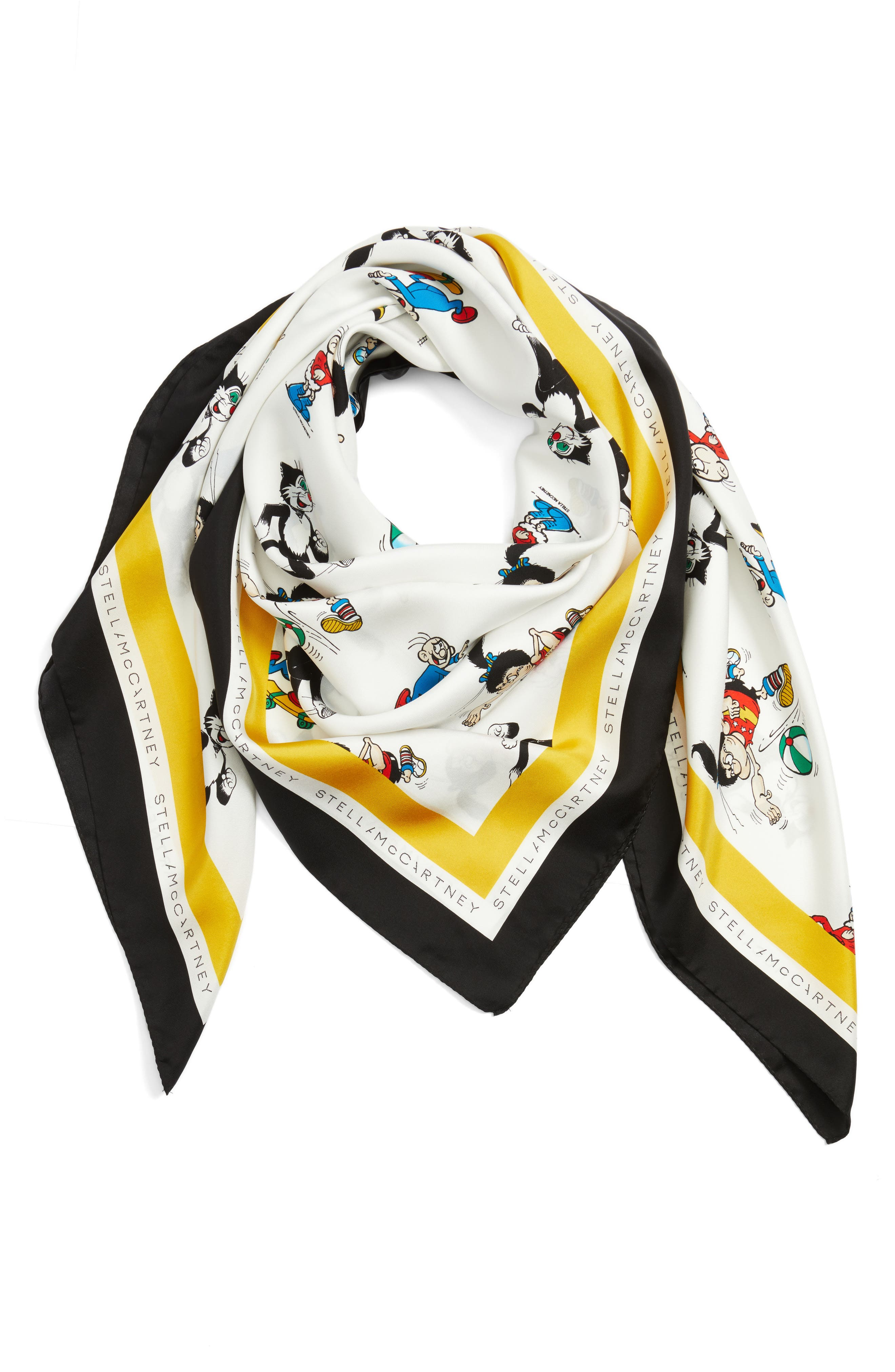 Cartoon Graphic Silk Scarf,                             Alternate thumbnail 3, color,                             White Multi