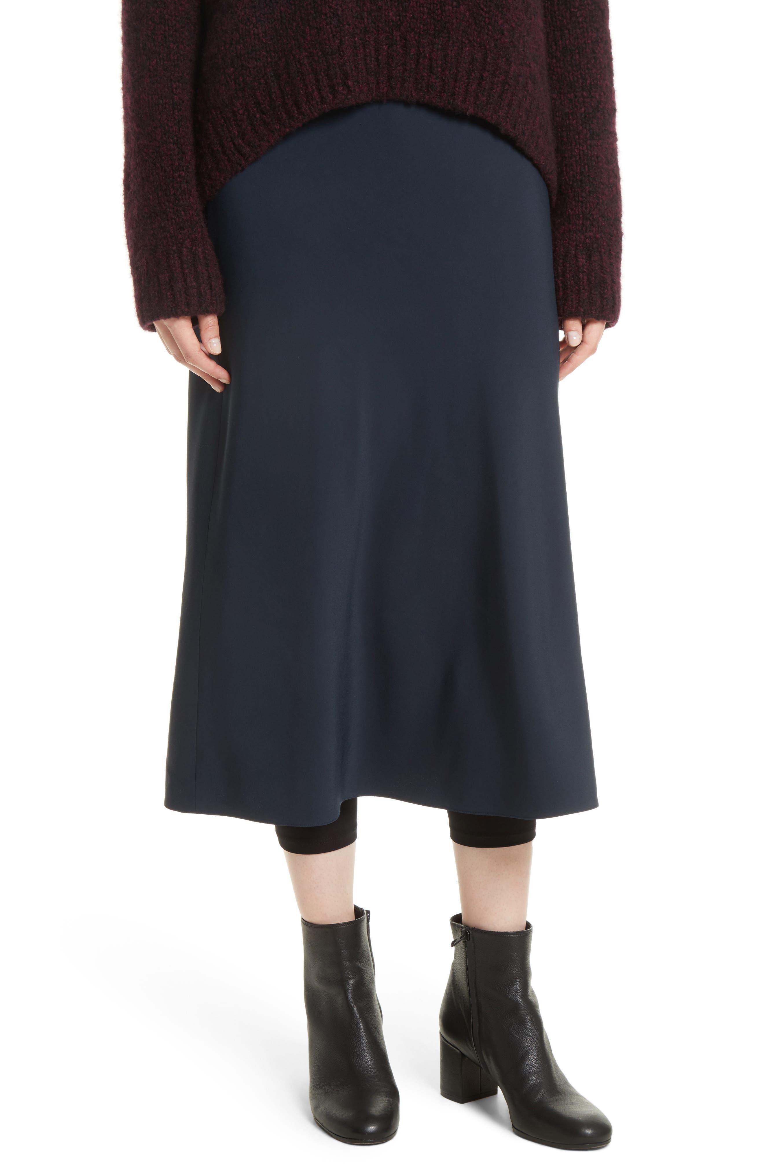 Elastic Waist Slip Skirt,                         Main,                         color, Coastal