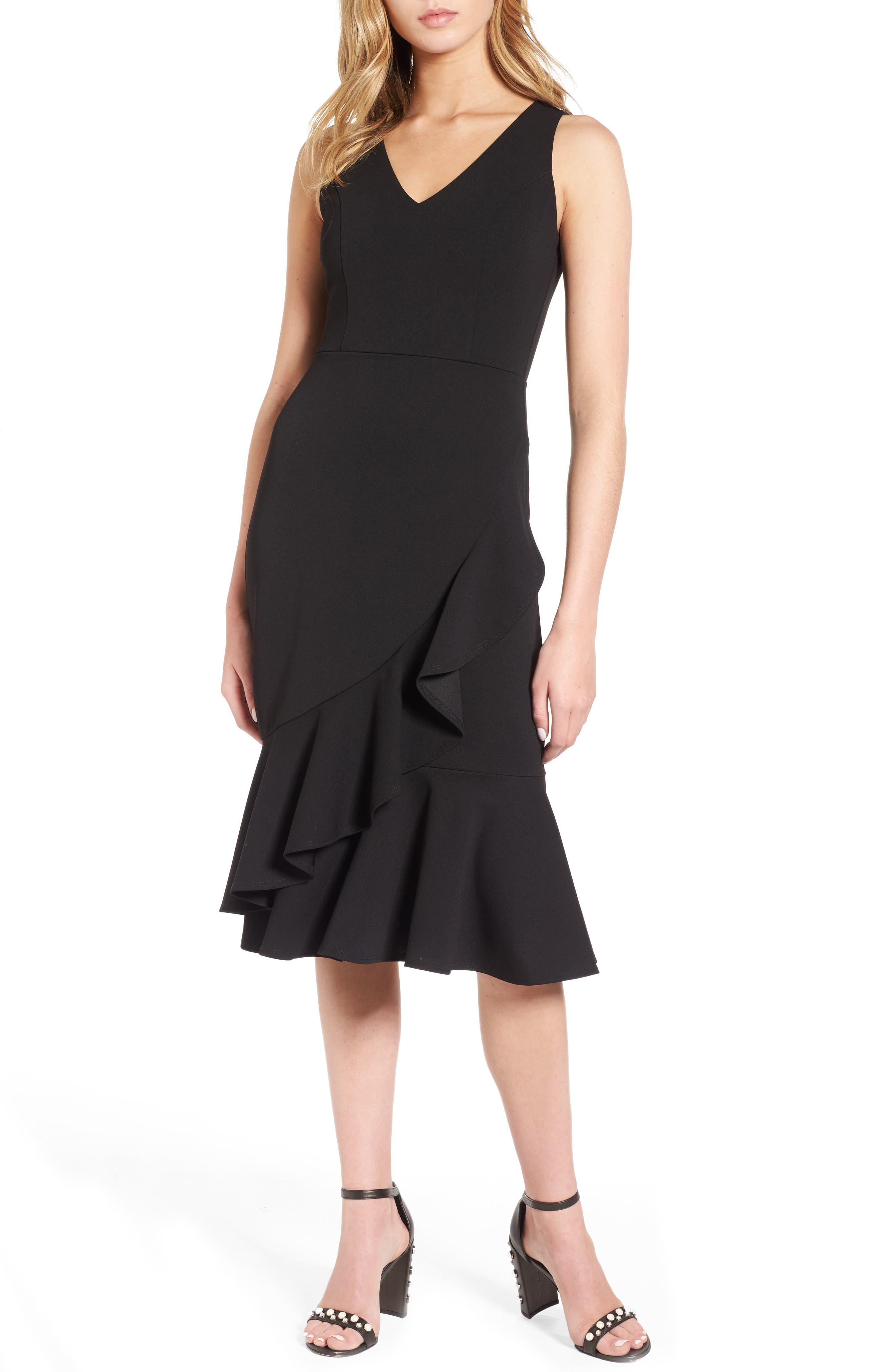 Ruffle Hem Dress,                         Main,                         color, Black