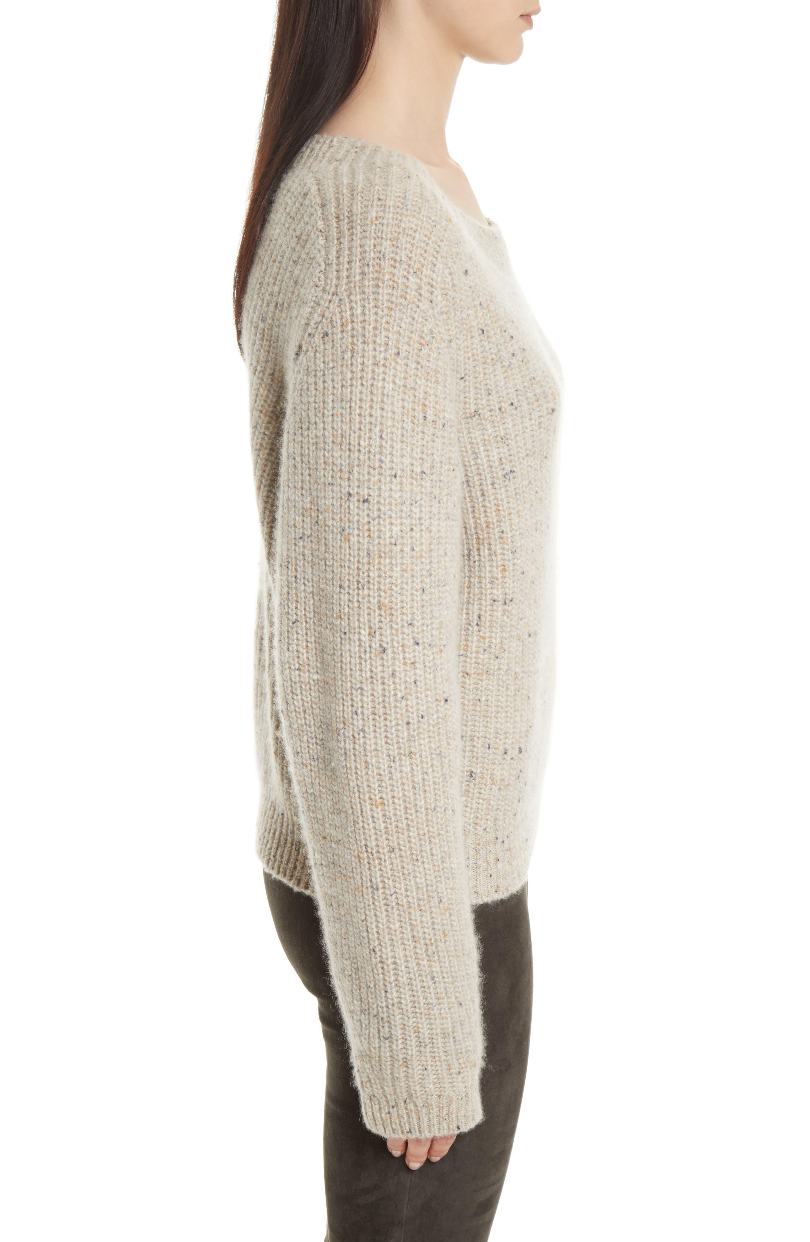 Saddle Sleeve Cashmere Sweater,                             Alternate thumbnail 3, color,                             Light Cream