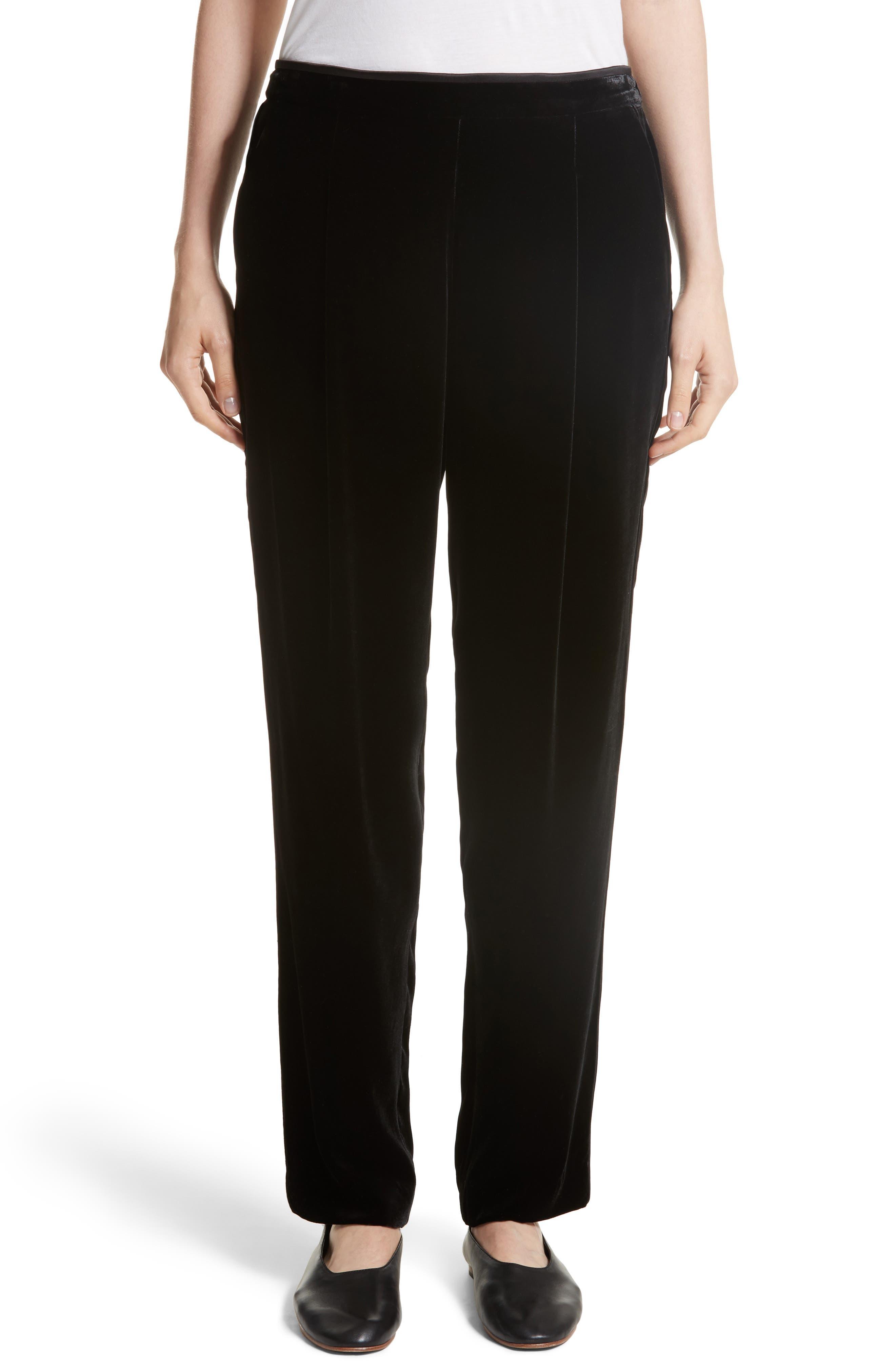Soho Velvet Track Pants,                             Main thumbnail 1, color,                             Black