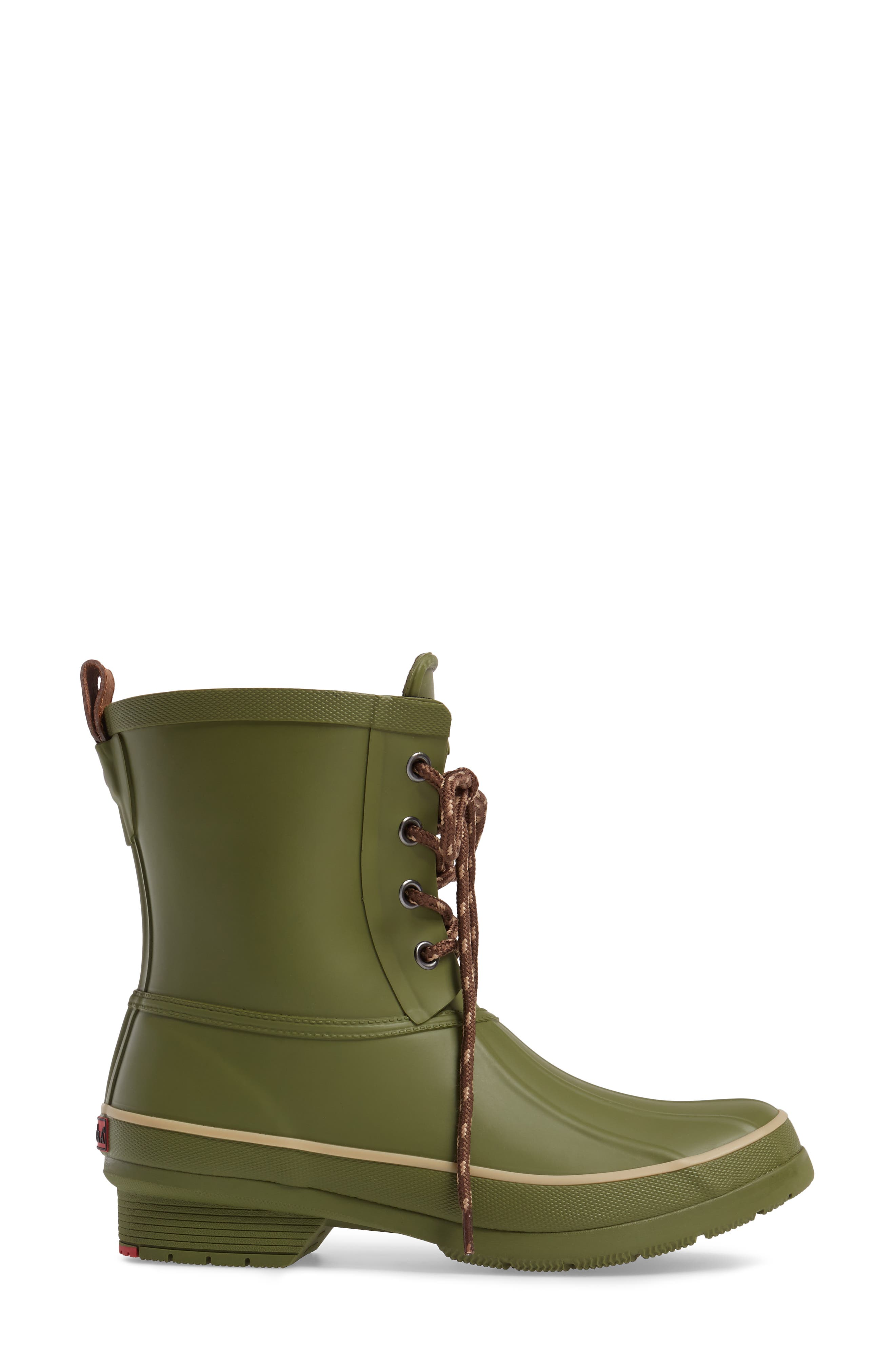 Classic Lace-Up Duck Boot,                             Alternate thumbnail 3, color,                             Olive