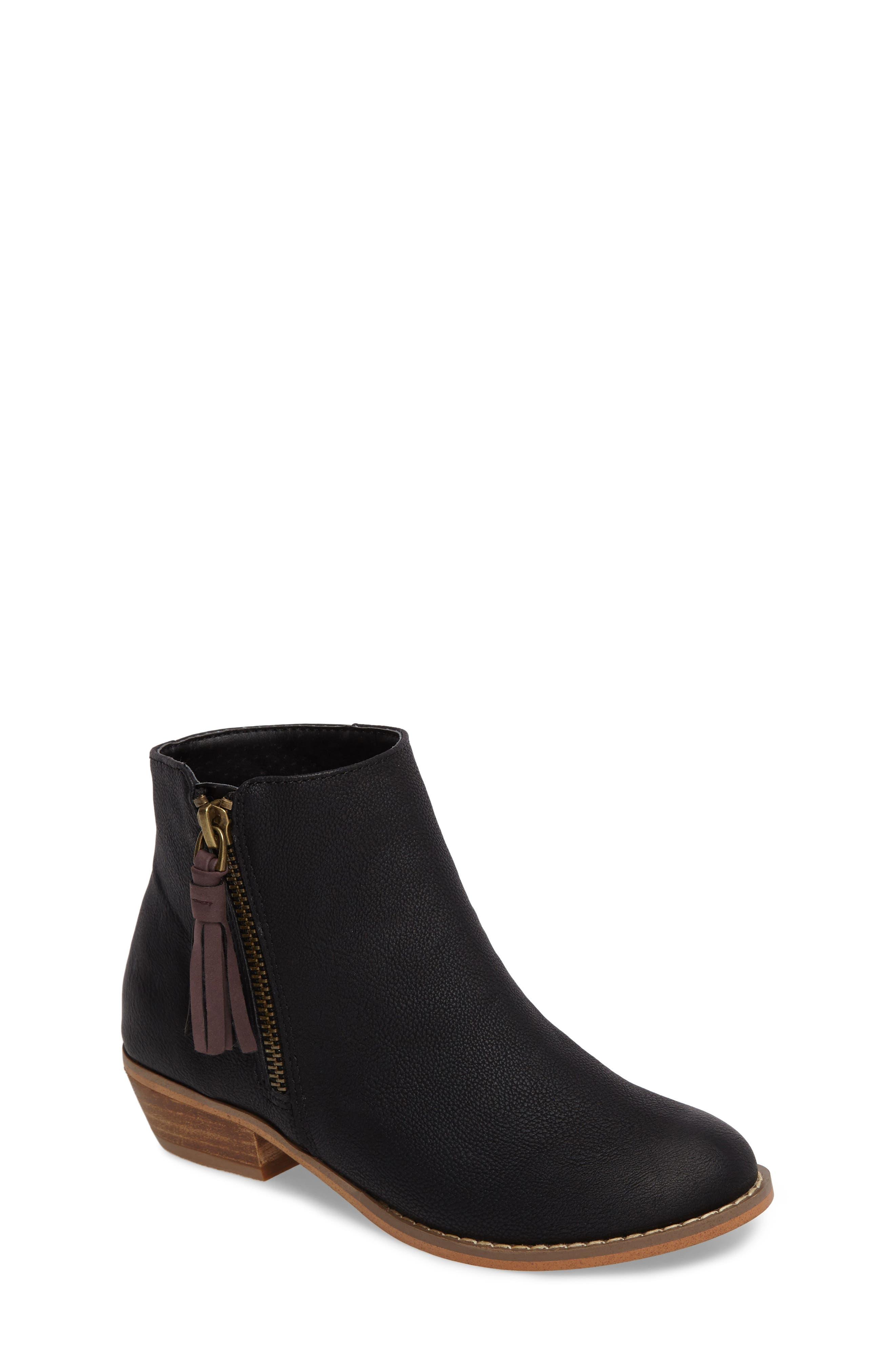 Harper Zip Bootie,                         Main,                         color, Black Faux Leather