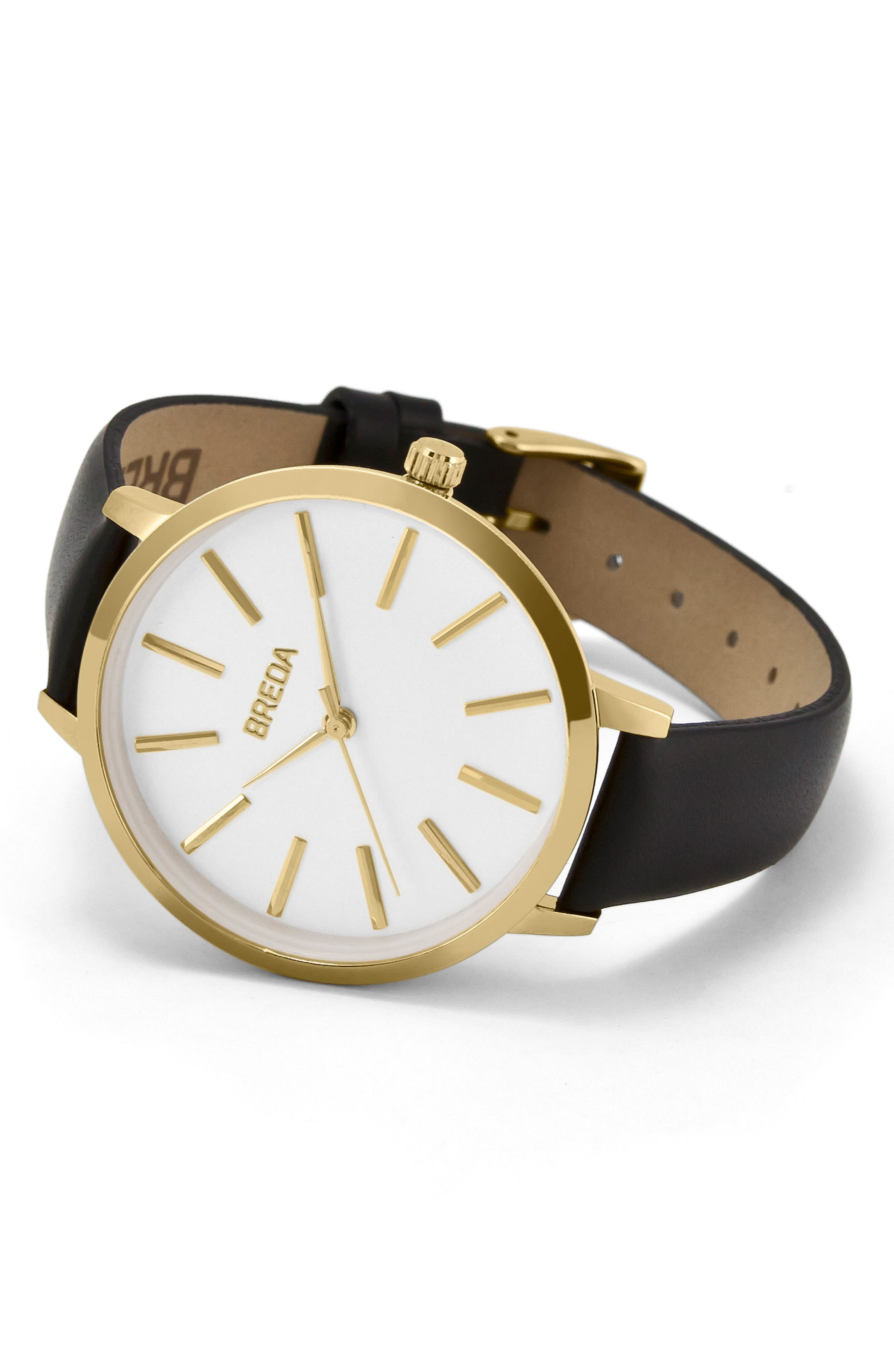 Joule Round Leather Strap Watch, 37mm,                             Alternate thumbnail 2, color,                             Black/ White/ Gold