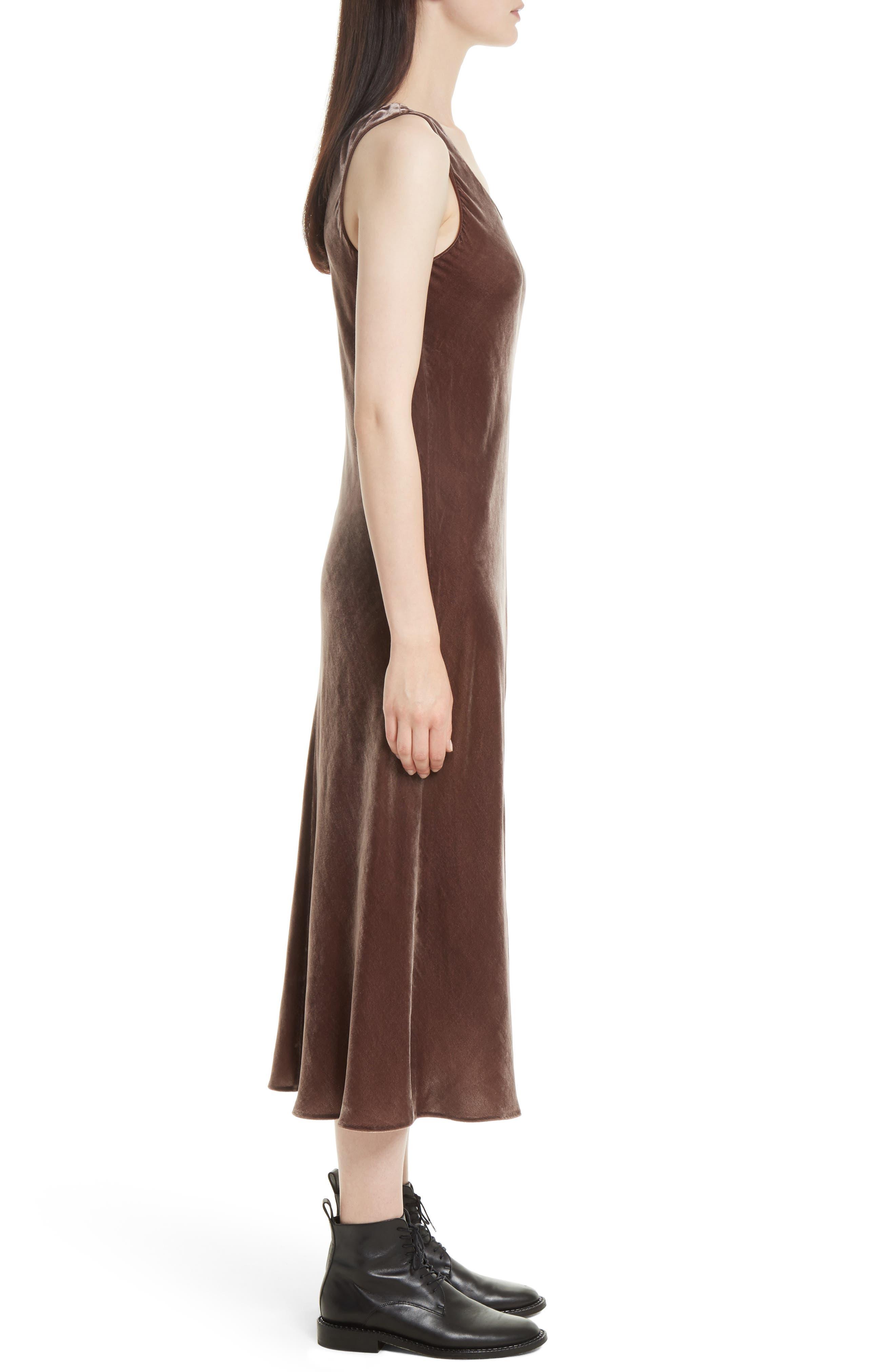 Velvet Tank Dress,                             Alternate thumbnail 3, color,                             Cocoa Bean