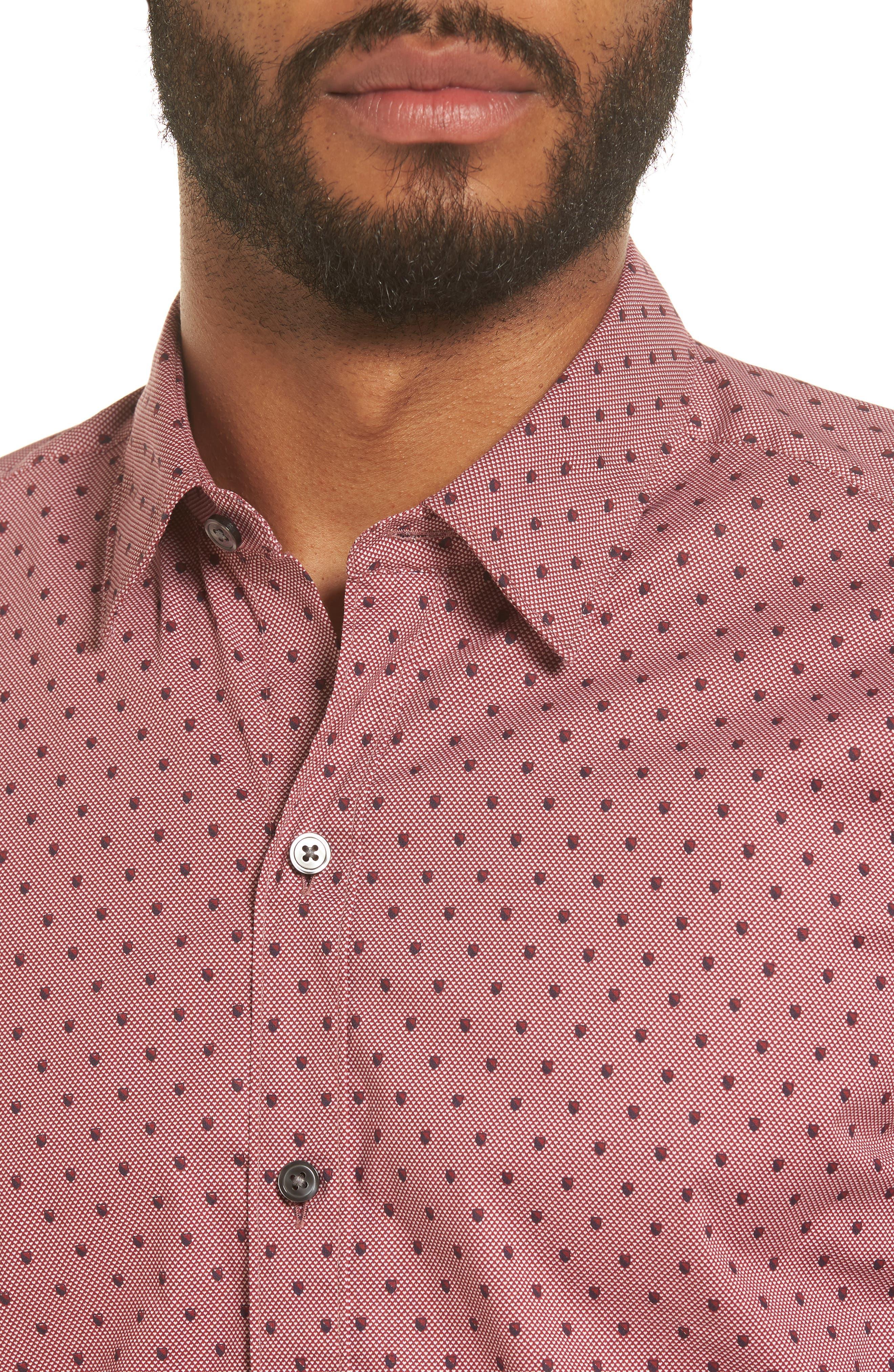 Robb Sharp Fit Print Sport Shirt,                             Alternate thumbnail 4, color,                             Red