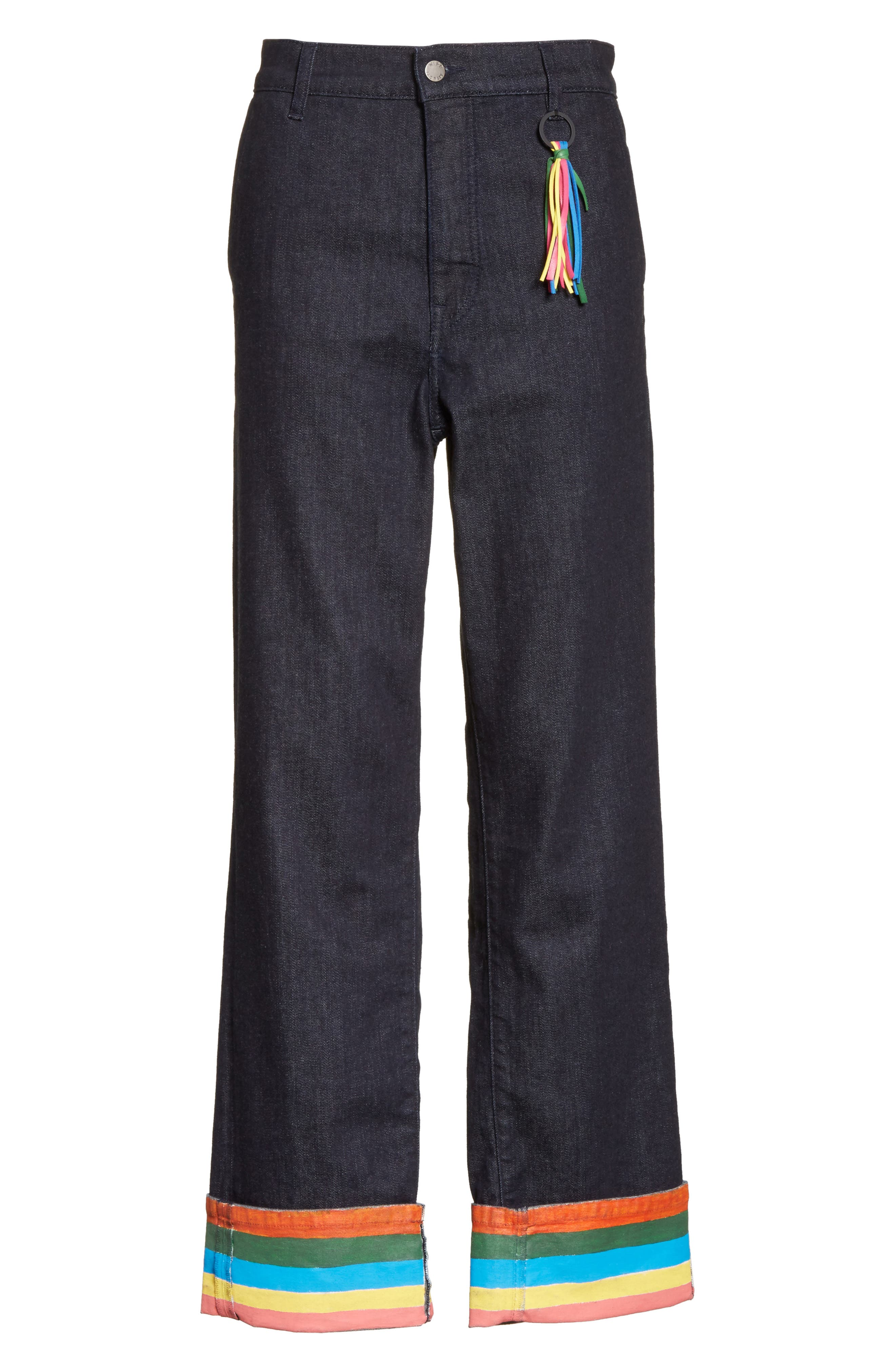 Ribbon Cuff Wide Leg Jeans,                             Alternate thumbnail 6, color,                             Dark Wash
