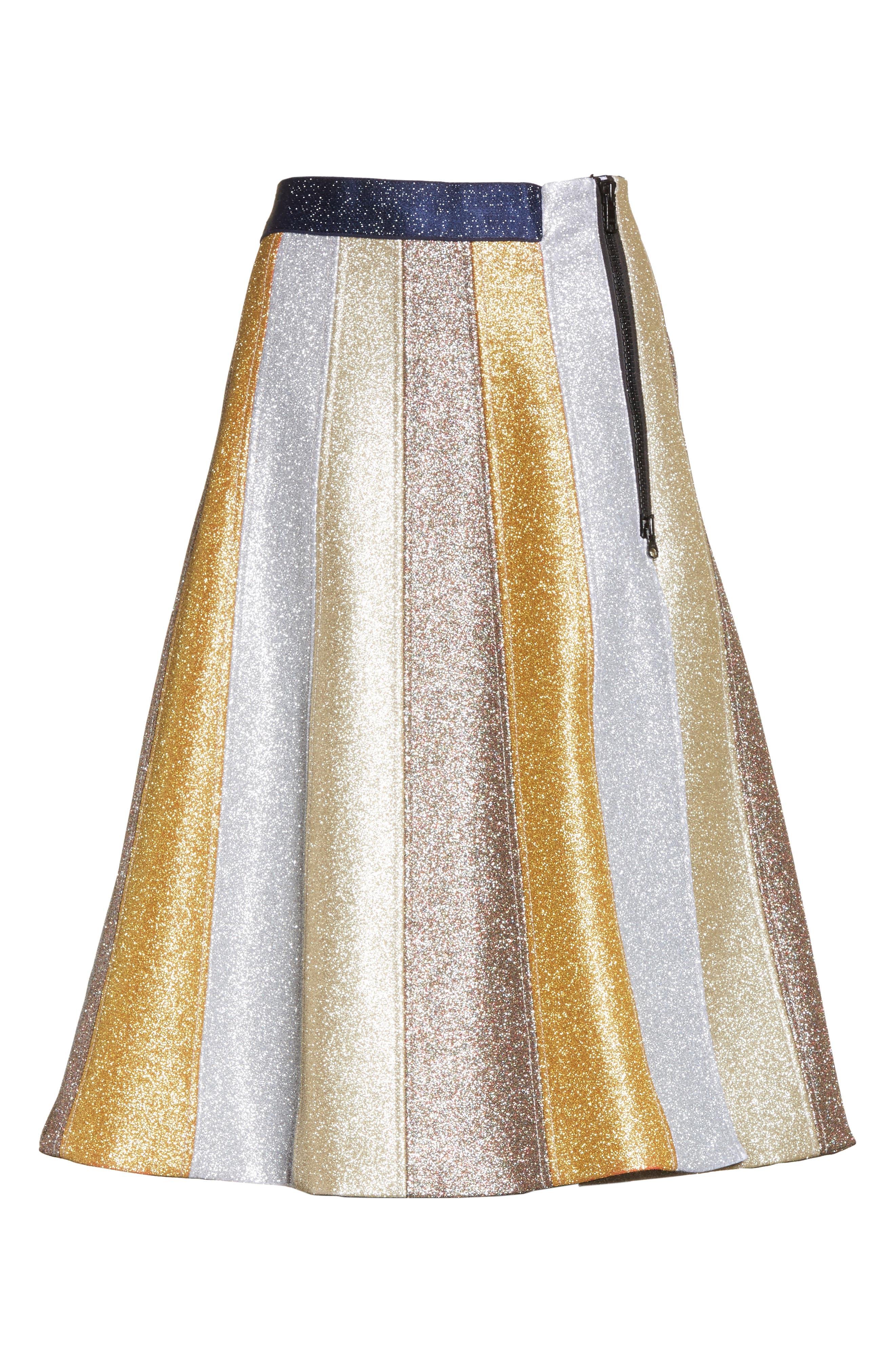 Glitter Panel A-Line Skirt,                             Alternate thumbnail 4, color,                             Multi