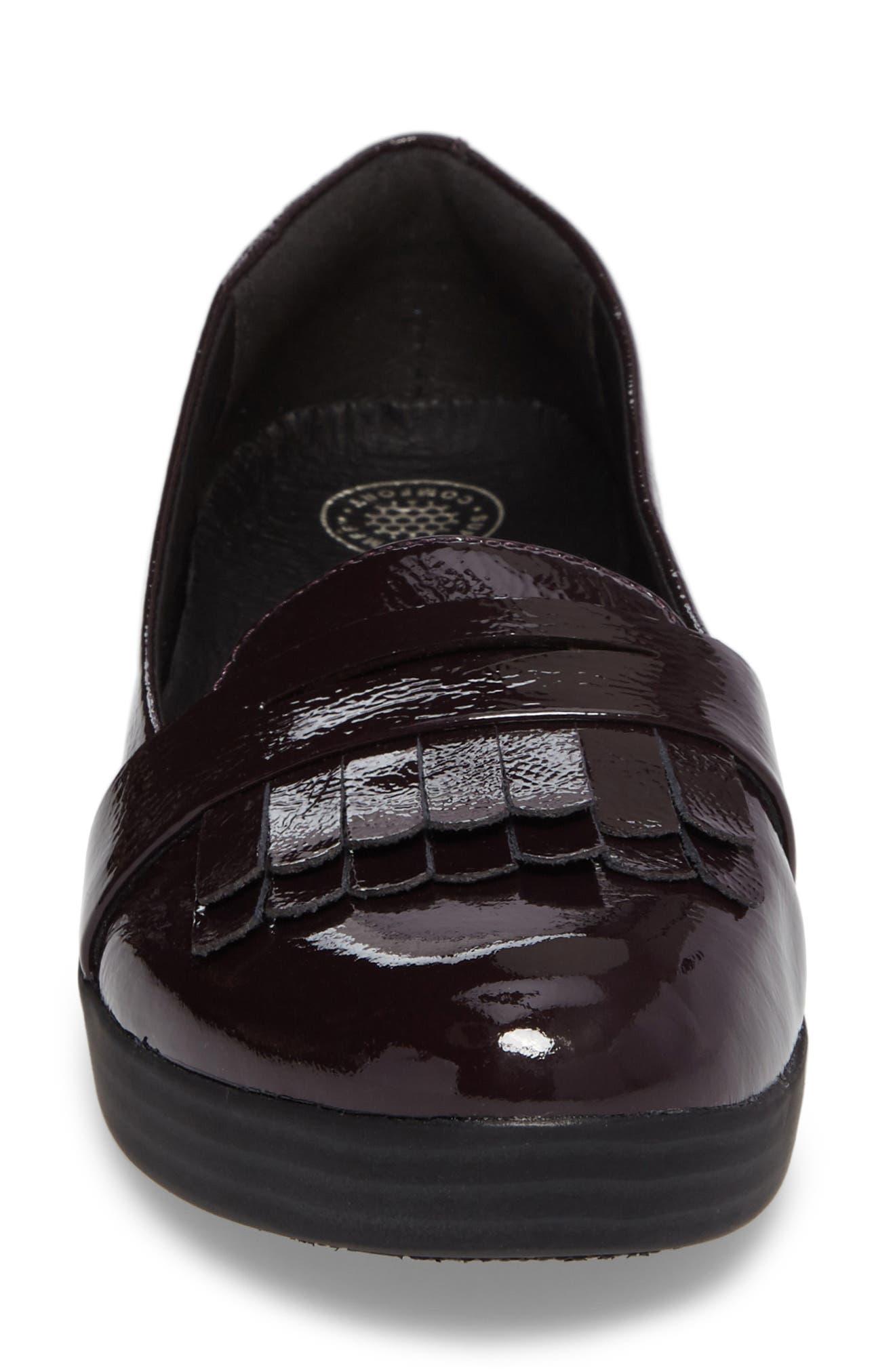 Fringey Sneakerloafer Slip-On,                             Alternate thumbnail 4, color,                             Deep Plum Leather