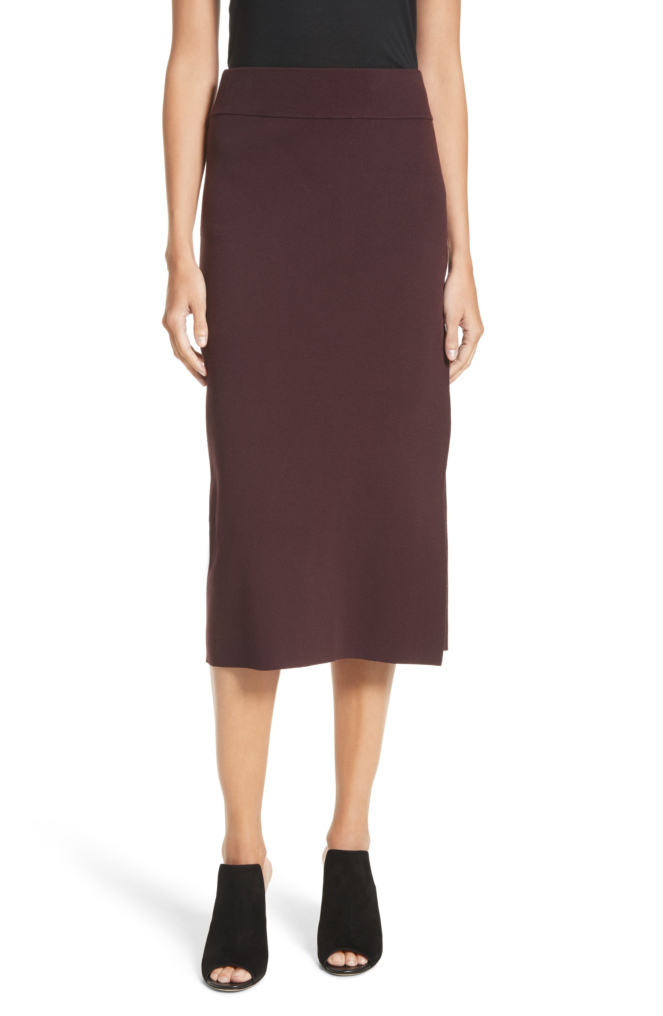 Smith Knit Pencil Skirt,                             Main thumbnail 1, color,                             Raisin