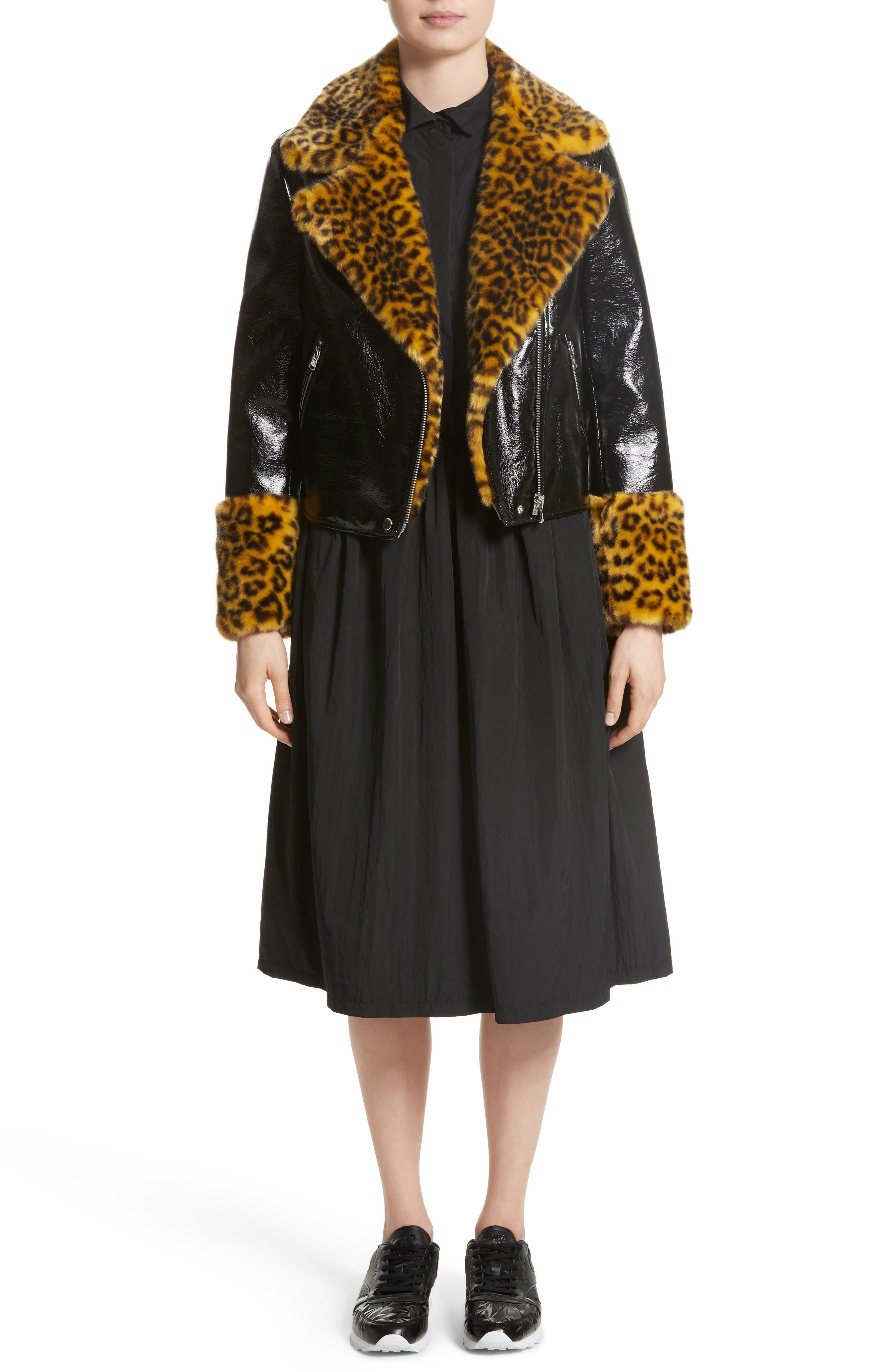 Maisie Faux Leather Biker Jacket with Faux Fur Trim,                             Alternate thumbnail 8, color,                             Black