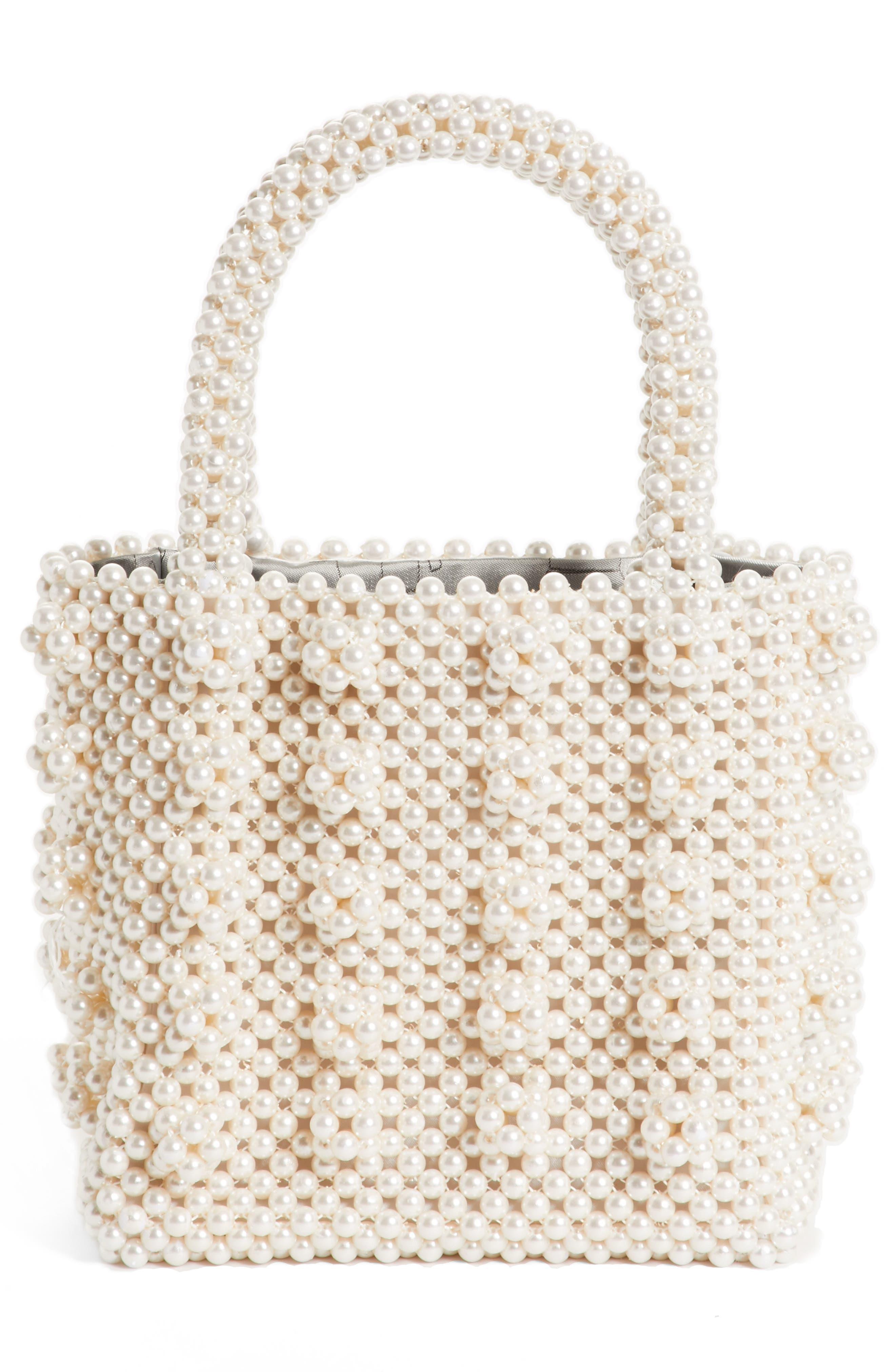 Antonia Small Imitation Pearl Beaded Handbag,                             Alternate thumbnail 3, color,                             Cream