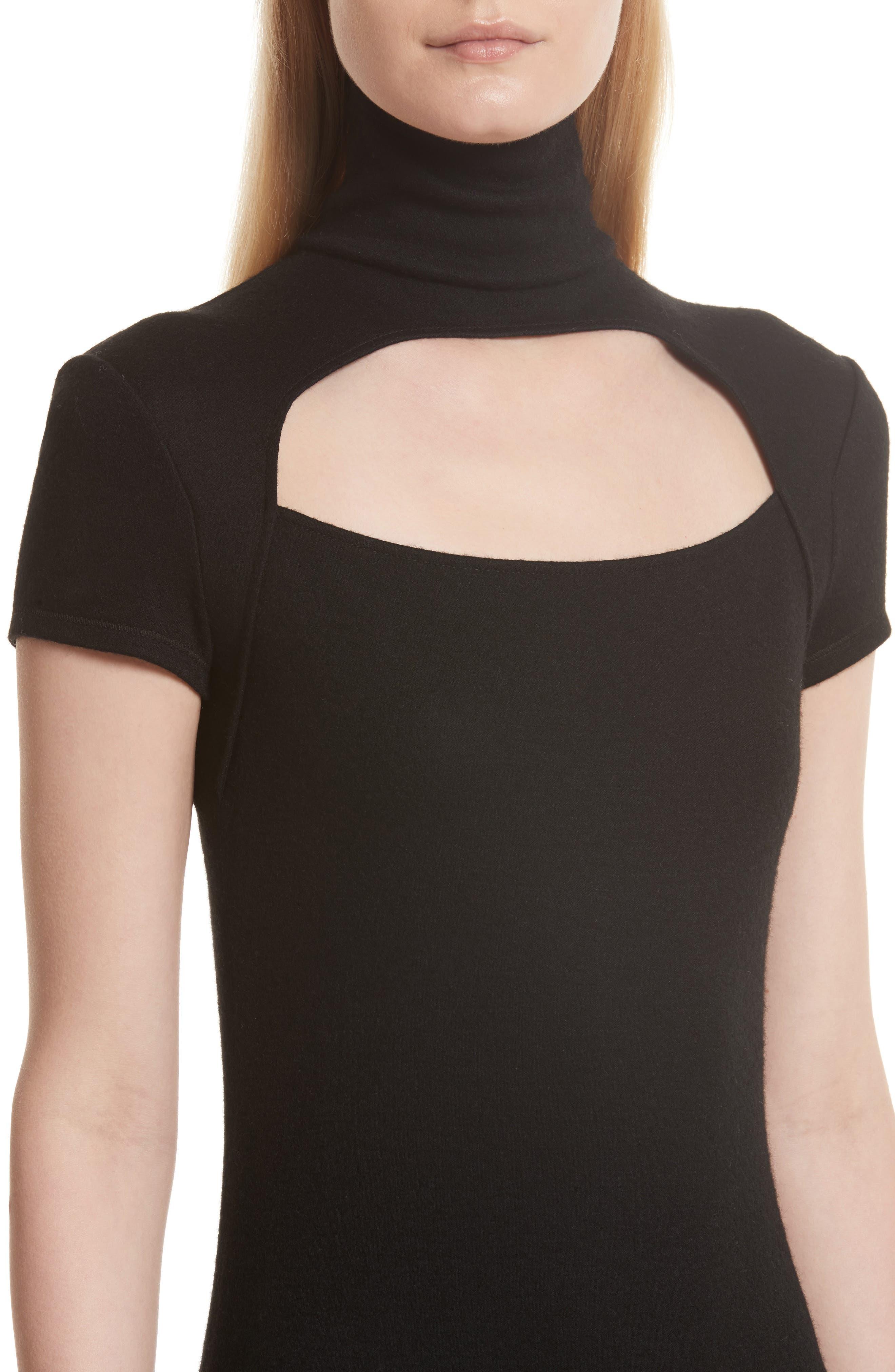 Cutout Wool Blend Dress,                             Alternate thumbnail 4, color,                             Black