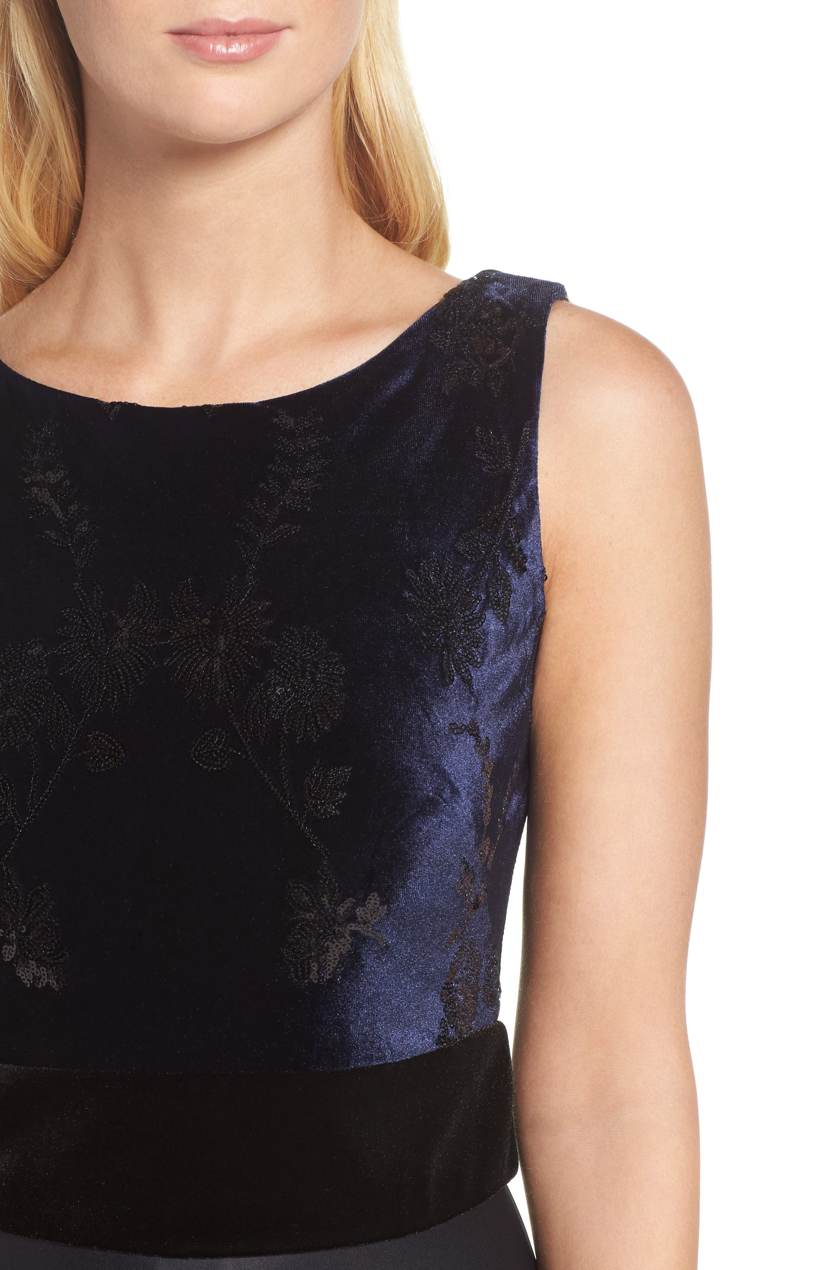 Fit & Flare Dress,                             Alternate thumbnail 4, color,                             Navy Black