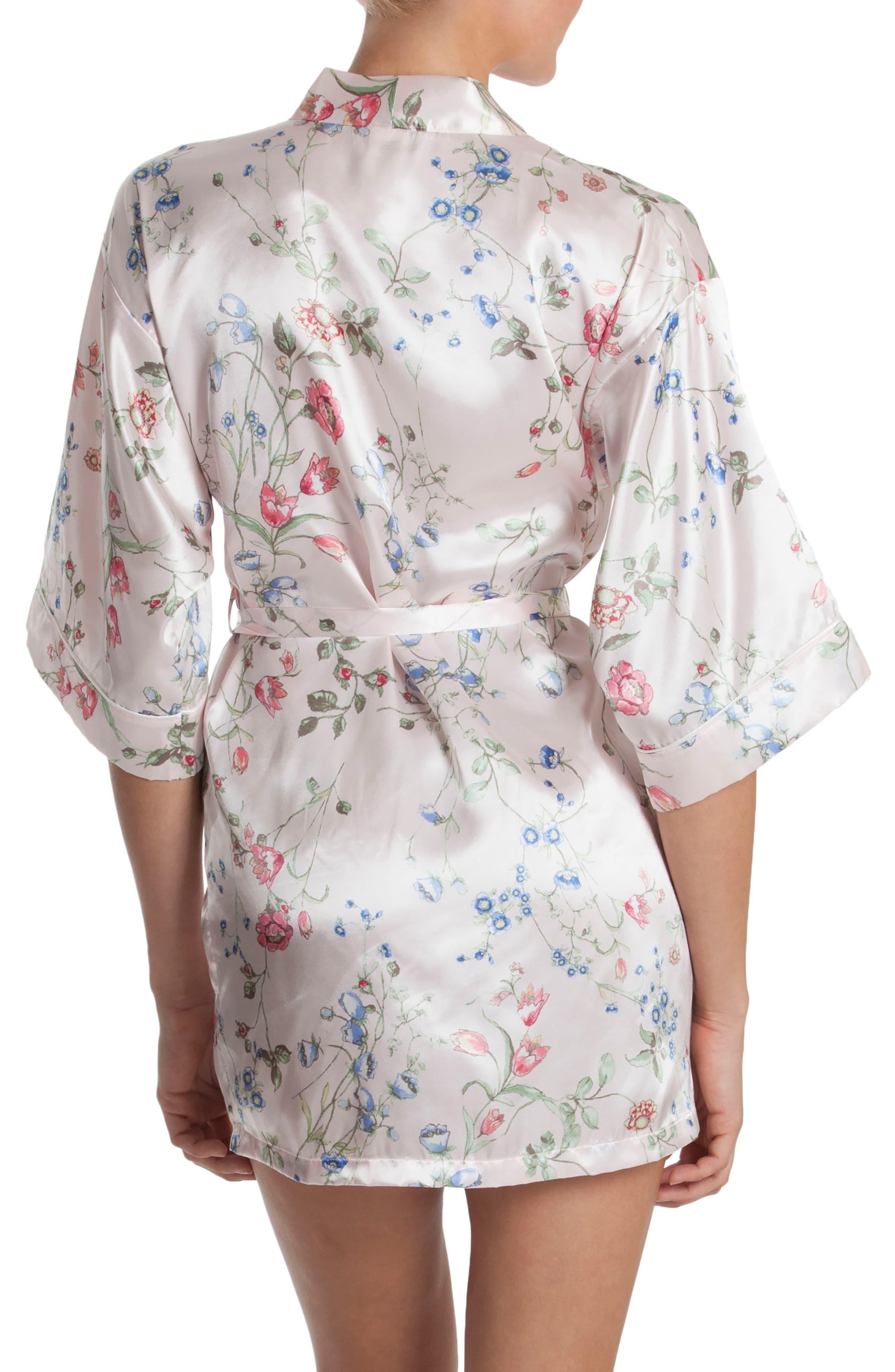 Floral Print Satin Robe,                             Alternate thumbnail 2, color,                             Botanical Breeze-Pink Ground