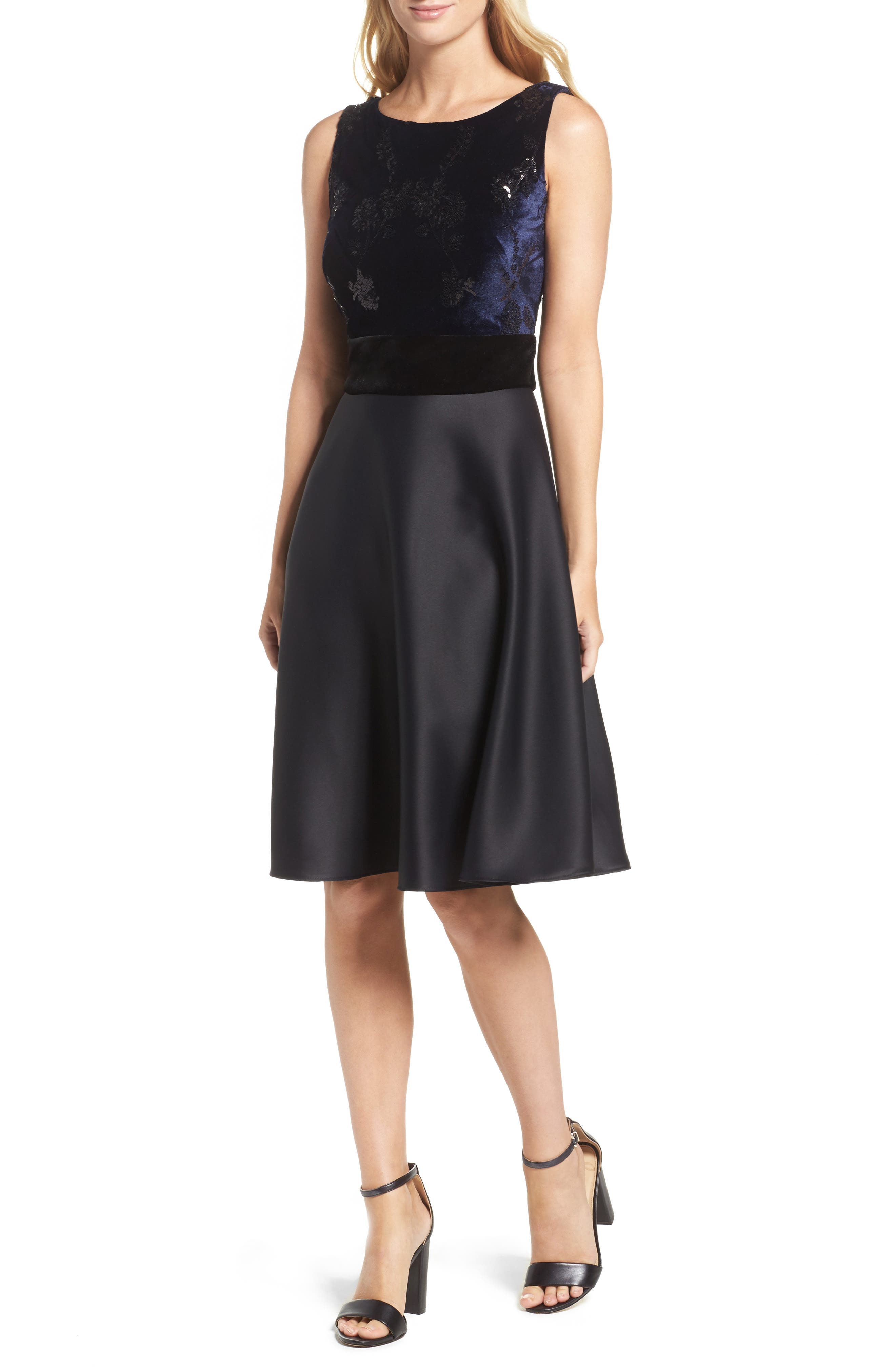 Fit & Flare Dress,                         Main,                         color, Navy Black