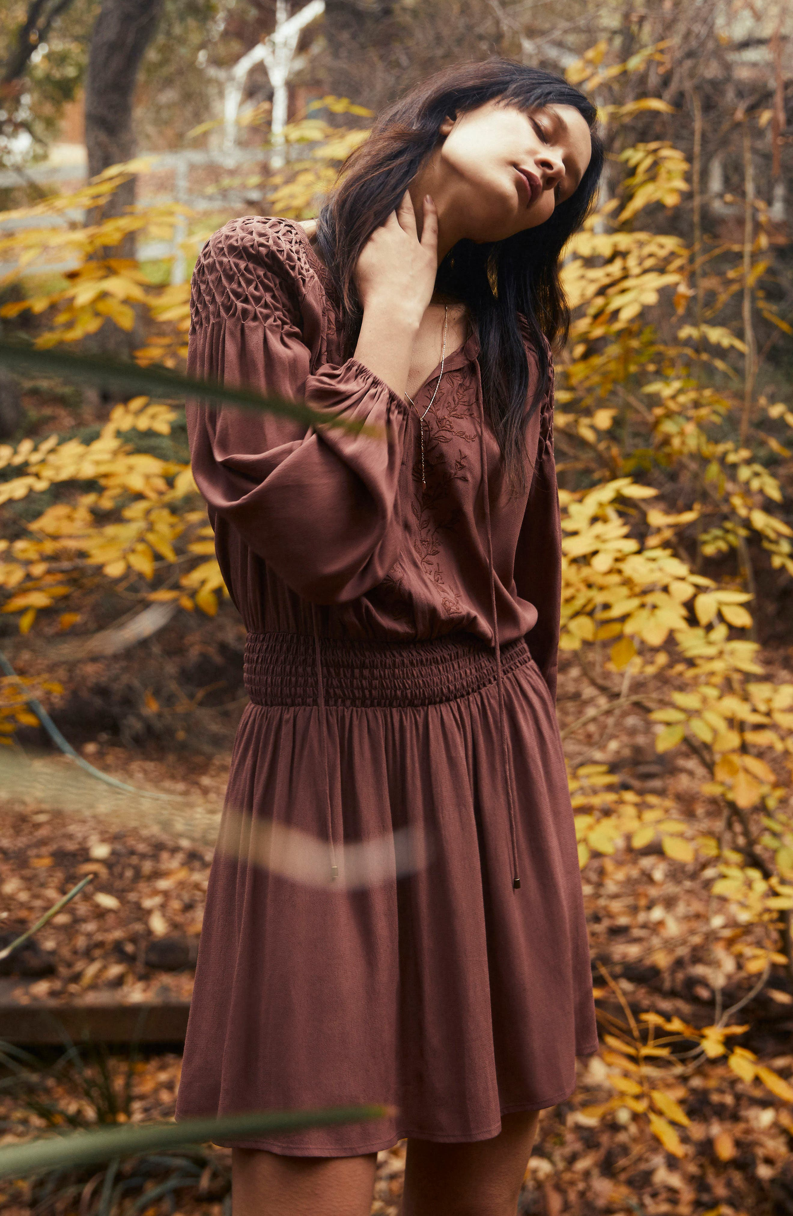 Melinda Blouson Dress,                             Alternate thumbnail 2, color,                             Dark Mauve