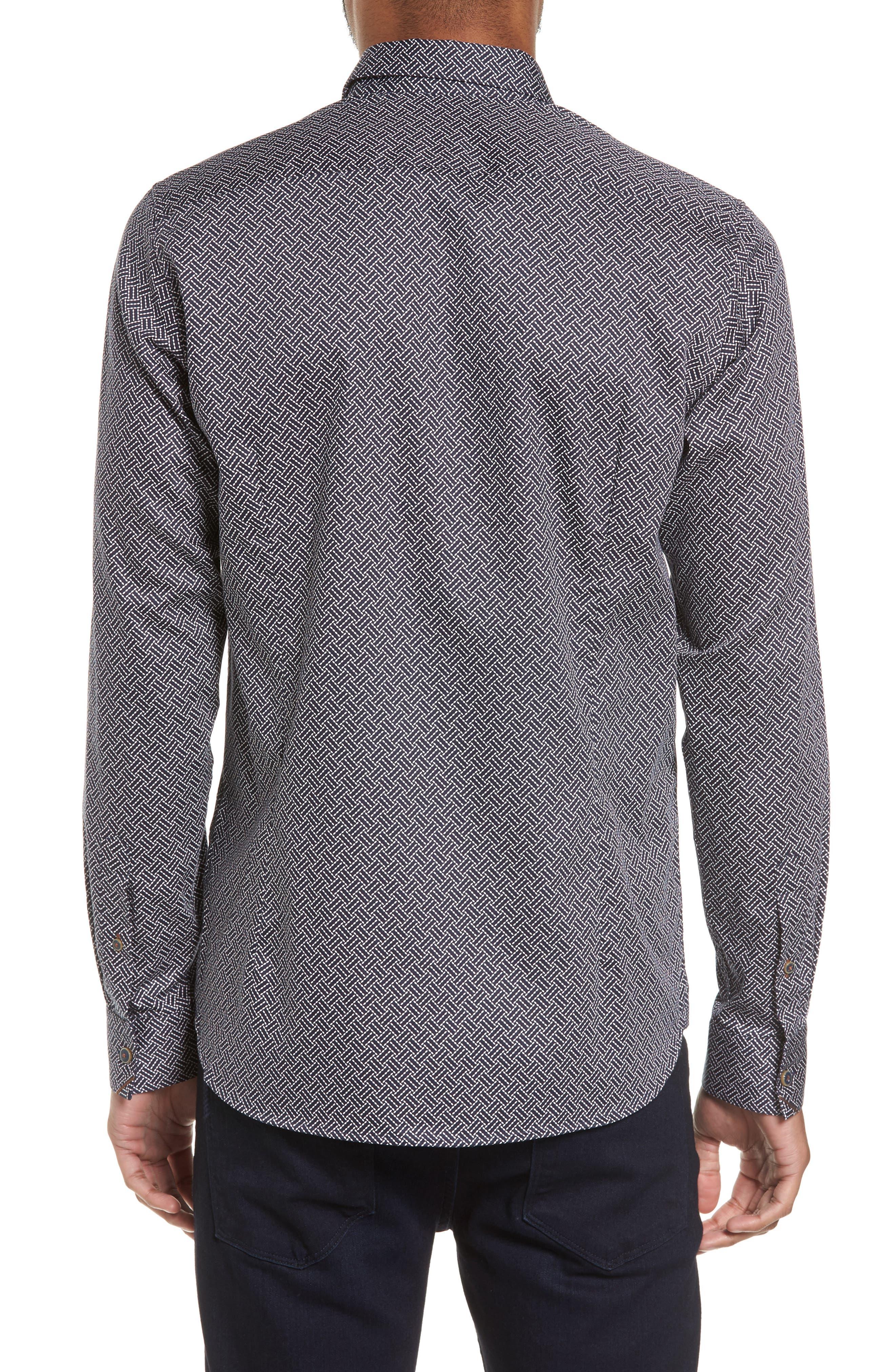 Larosh Slim Fit Basket Weave Print Sport Shirt,                             Alternate thumbnail 2, color,                             Navy