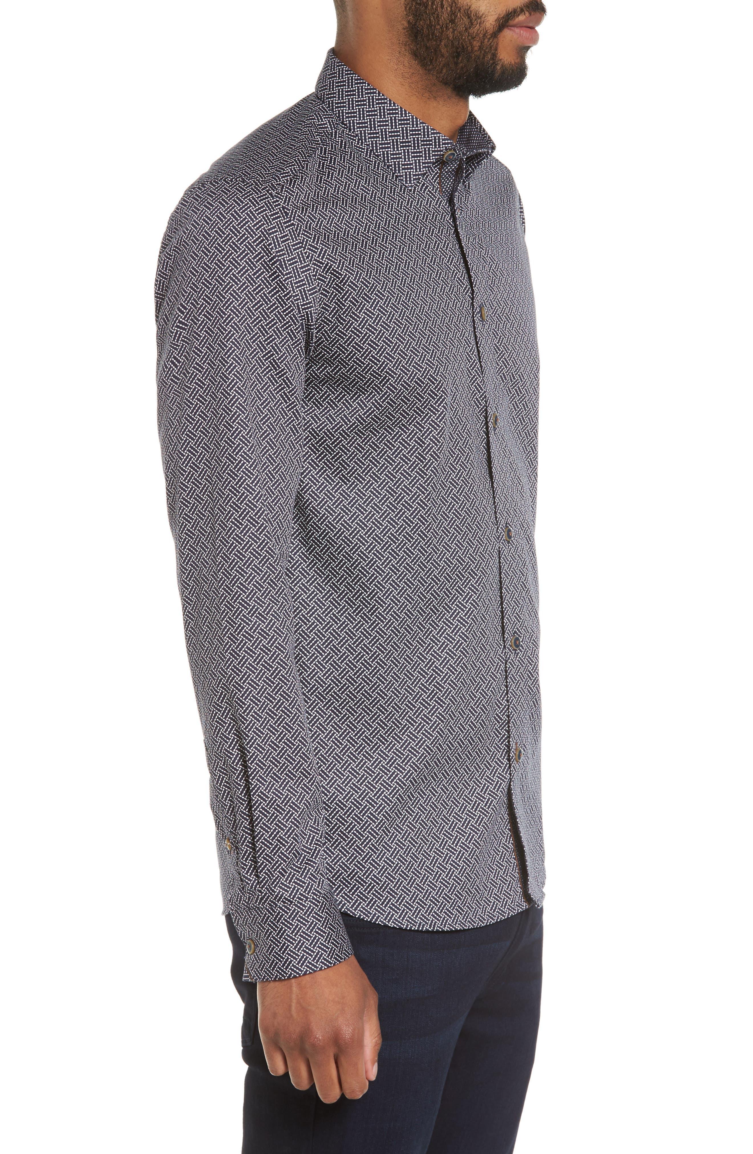 Larosh Slim Fit Basket Weave Print Sport Shirt,                             Alternate thumbnail 3, color,                             Navy