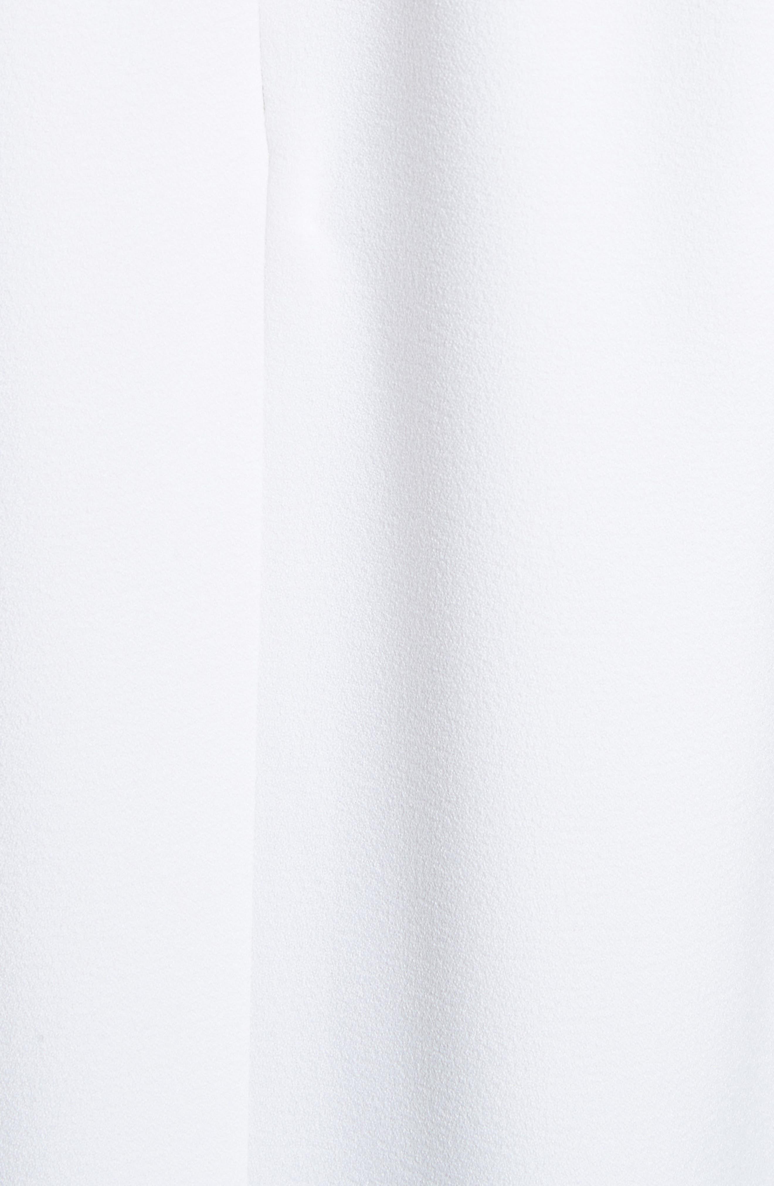 Shirred Neck Mica Crepe Shift Dress,                             Alternate thumbnail 5, color,                             White