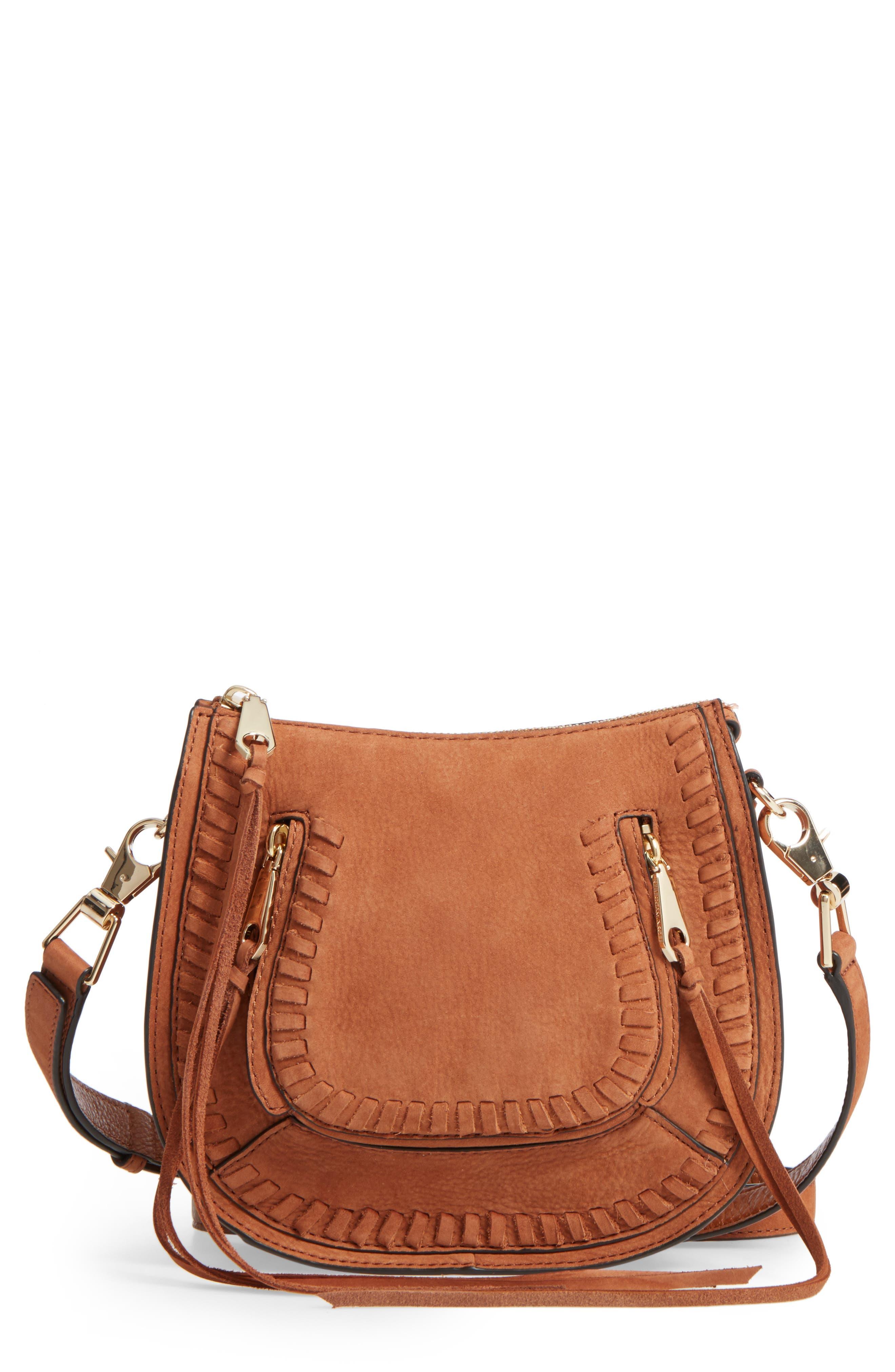 Mini Vanity Saddle Bag,                         Main,                         color, Almond Nubuck