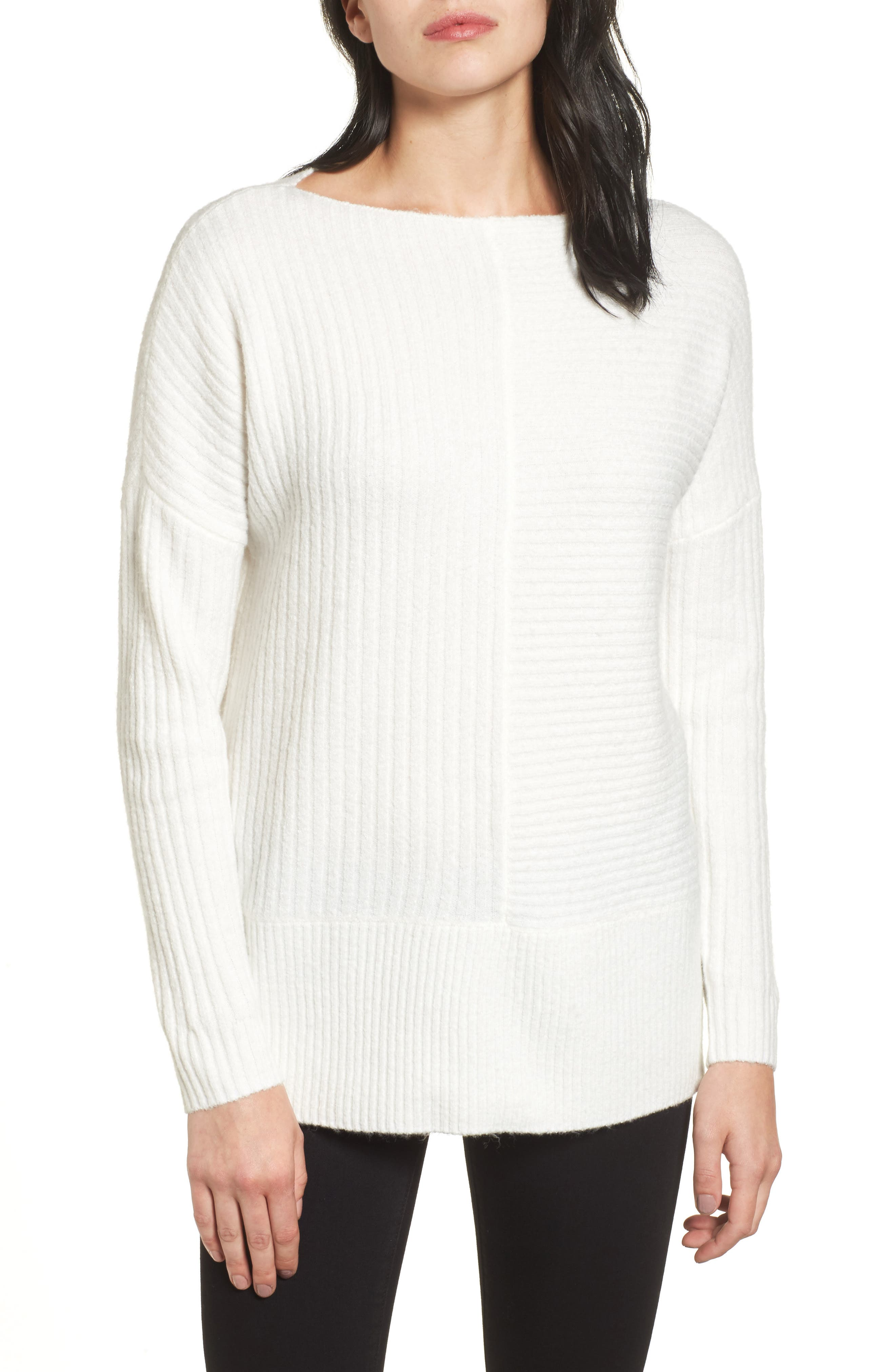 Caslon® Multi Ribbed Fleece Knit Sweater (Regular & Petite)
