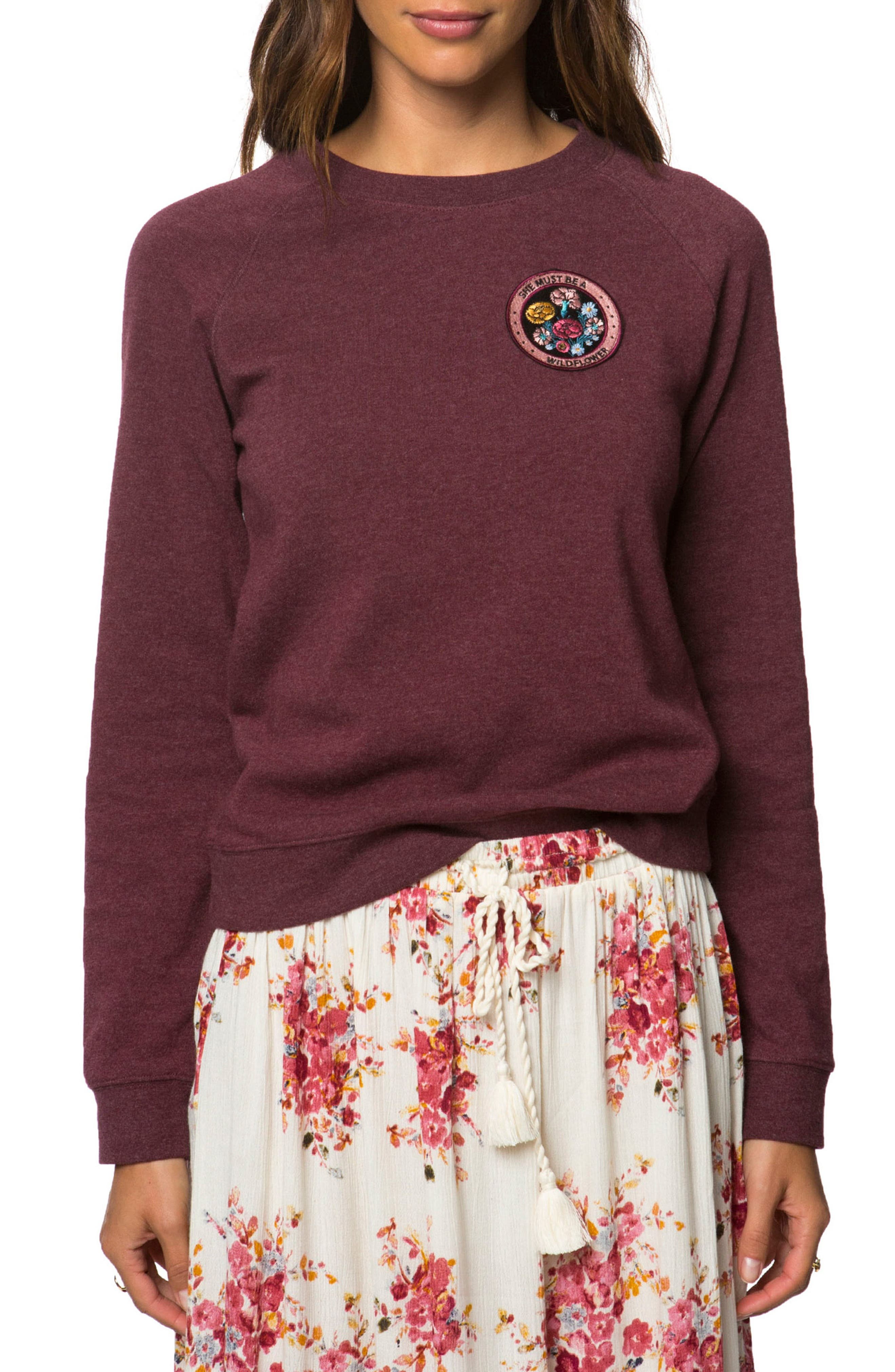 Camp Patch Sweatshirt,                         Main,                         color, Dark Rhododendron