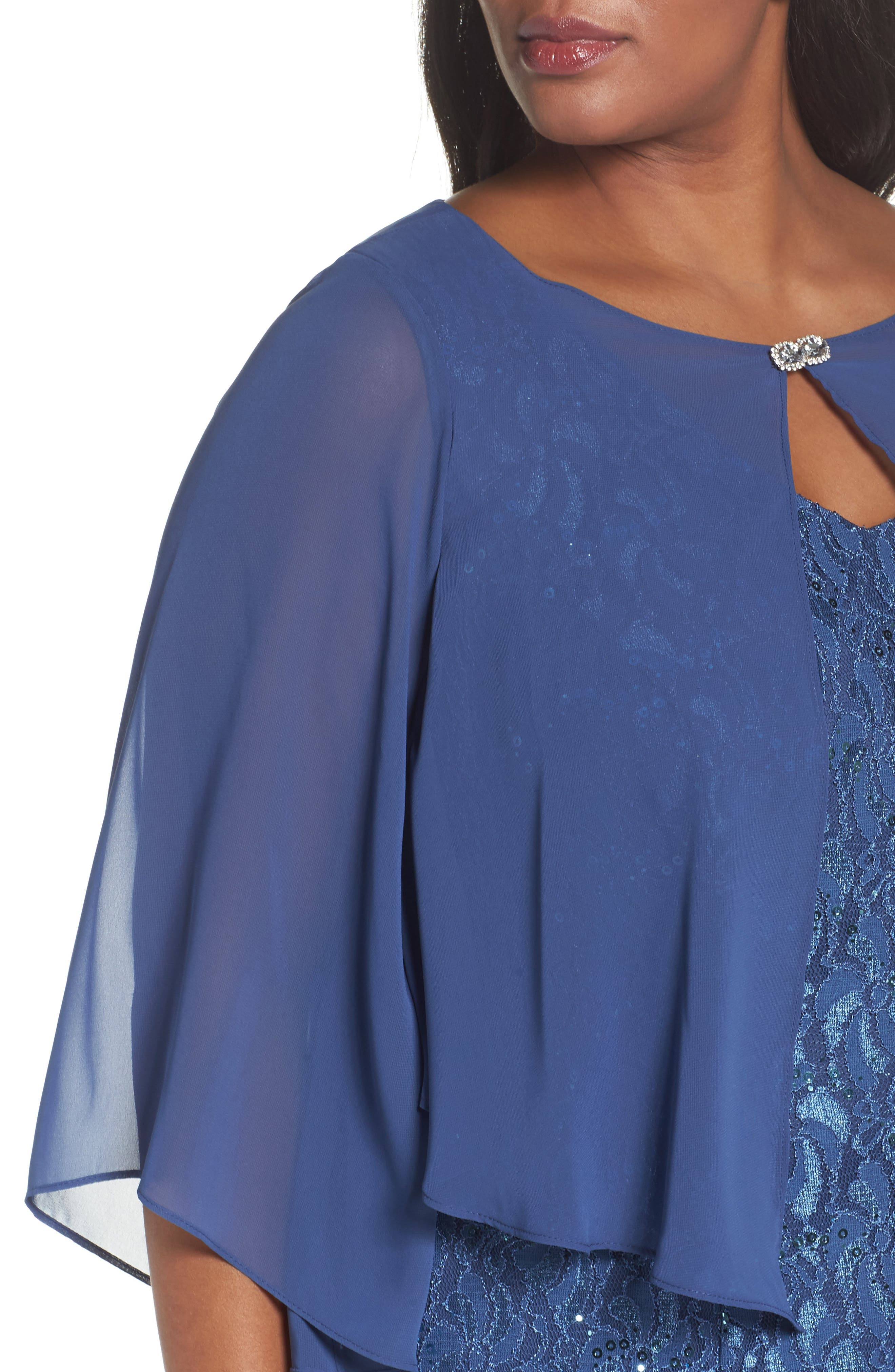 V-Neck Lace Gown with Capelet Overlay,                             Alternate thumbnail 4, color,                             Wedgewood