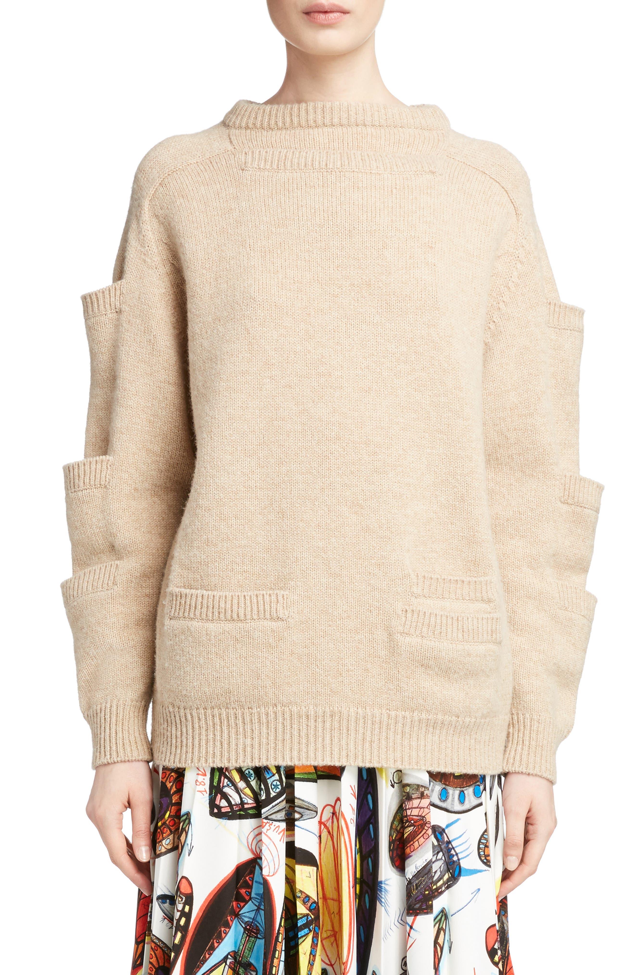 Sleeve Pocket Wool Sweater,                         Main,                         color, Oatmeal