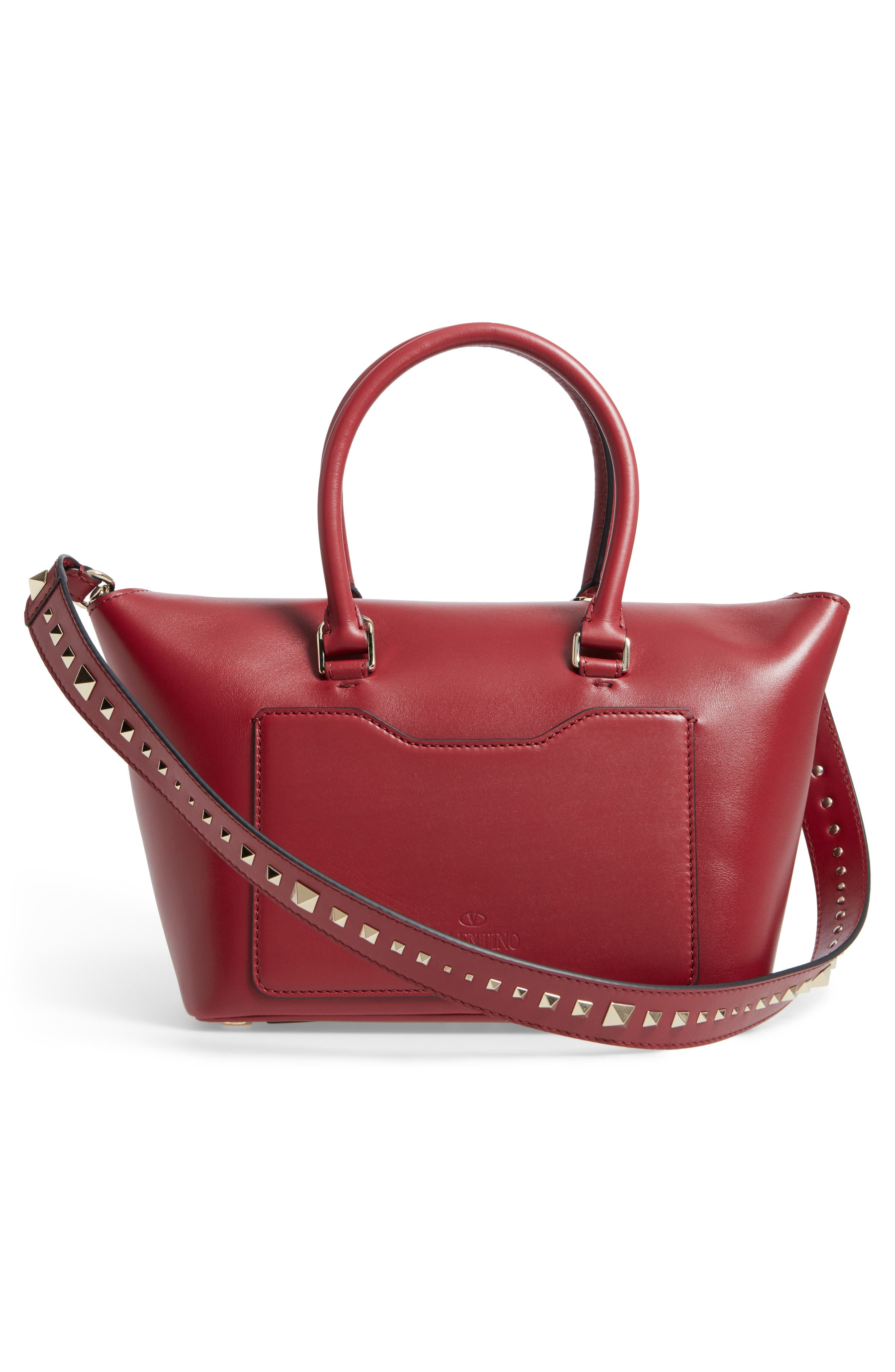 Small Double Handle Demi Moon Leather Satchel,                             Alternate thumbnail 2, color,                             Rosso