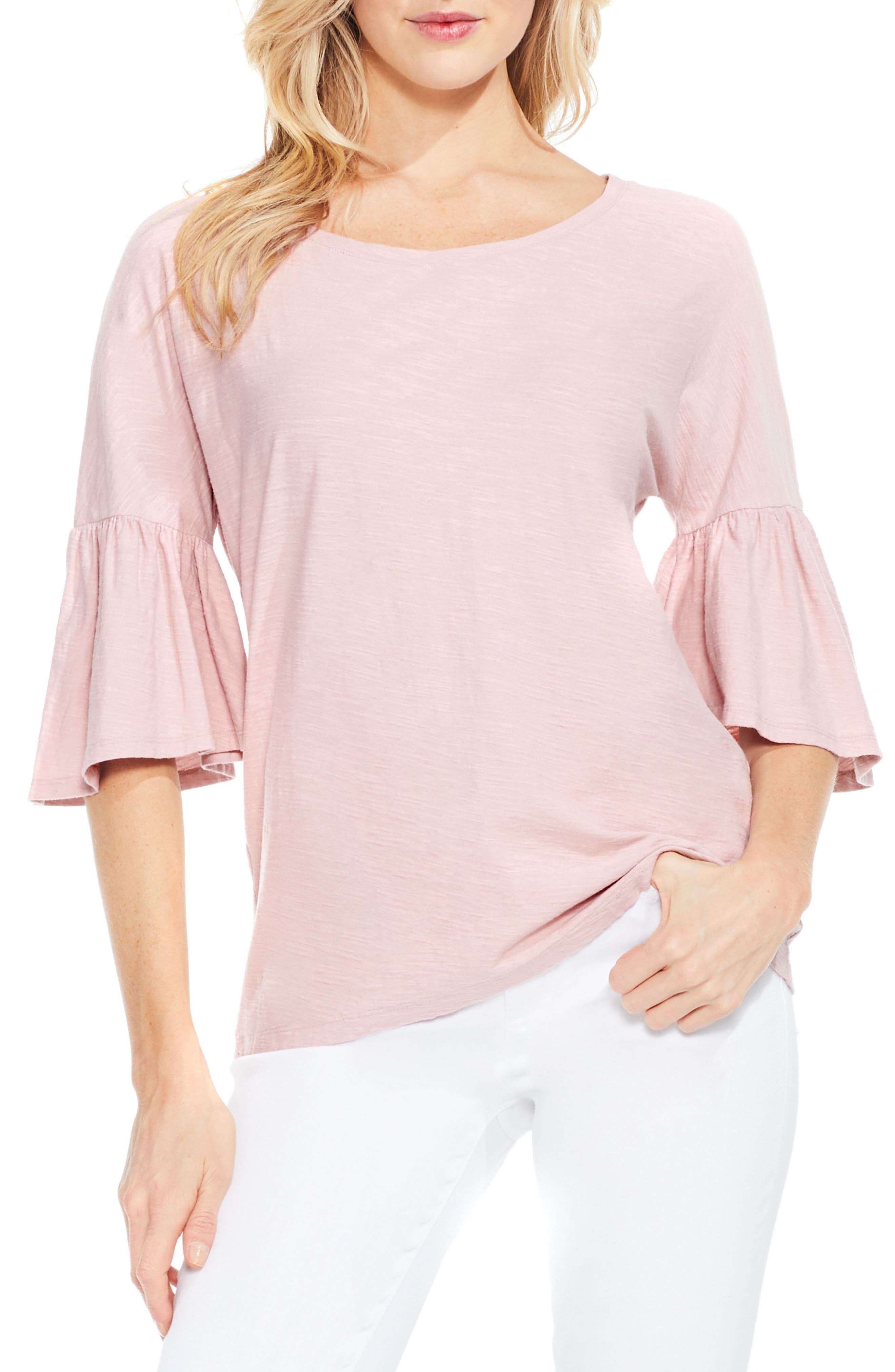 Relaxed Bell Sleeve Cotton Tee,                         Main,                         color, Rose Buff