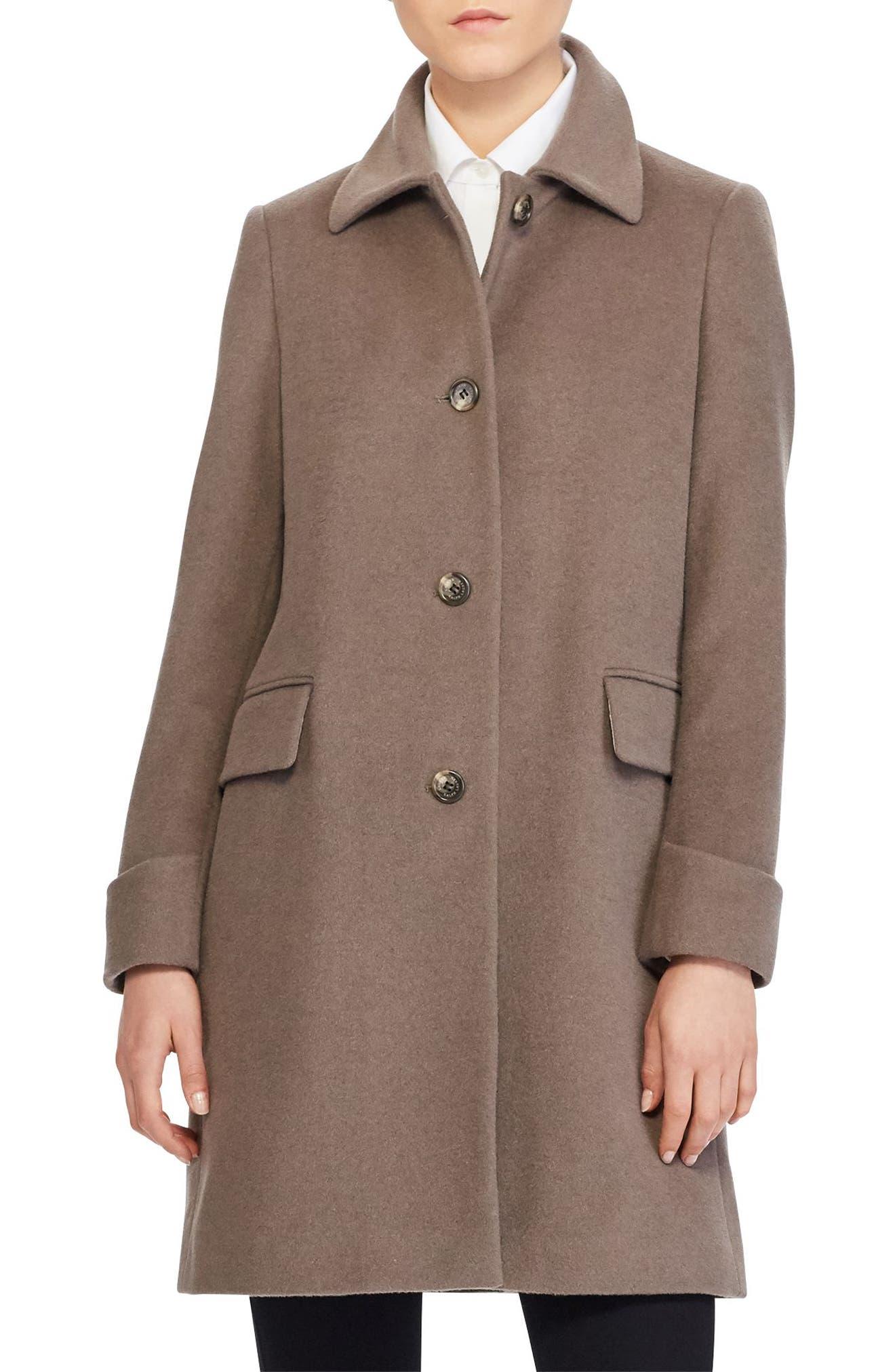 Wool Blend Coat,                         Main,                         color, Mink