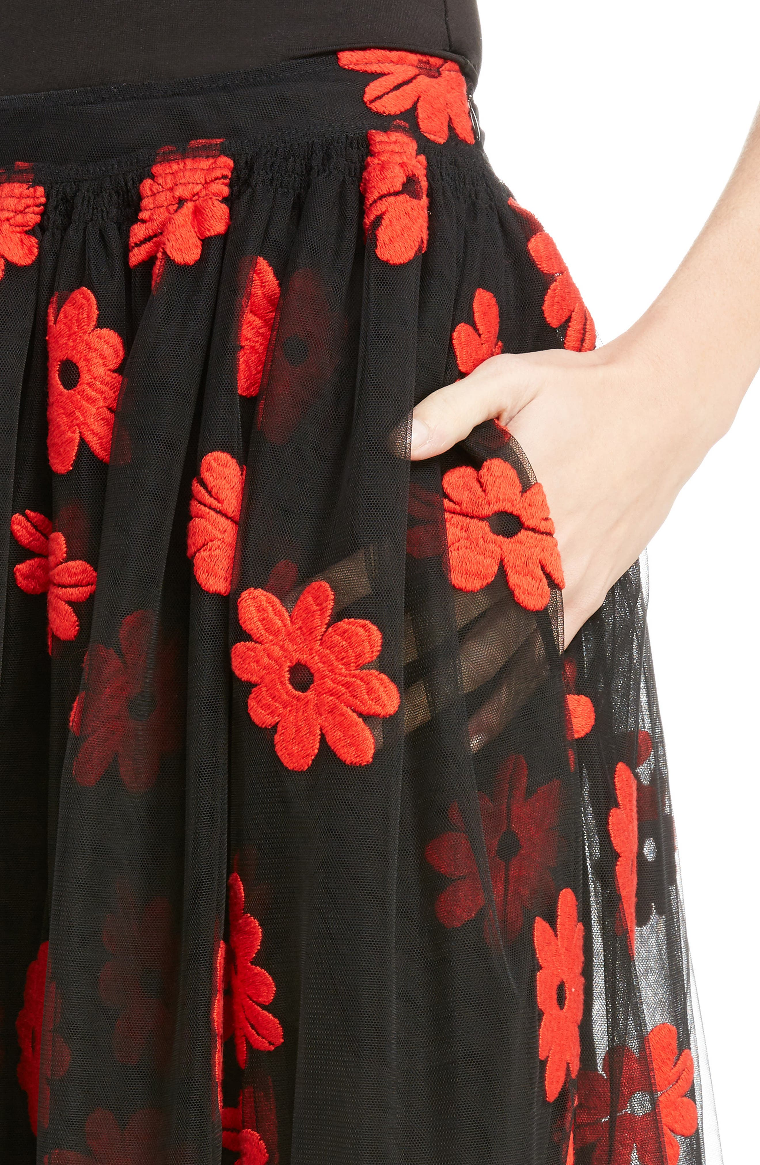 Alternate Image 4  - Simone Rocha Floral Embroidered Tulle Skirt