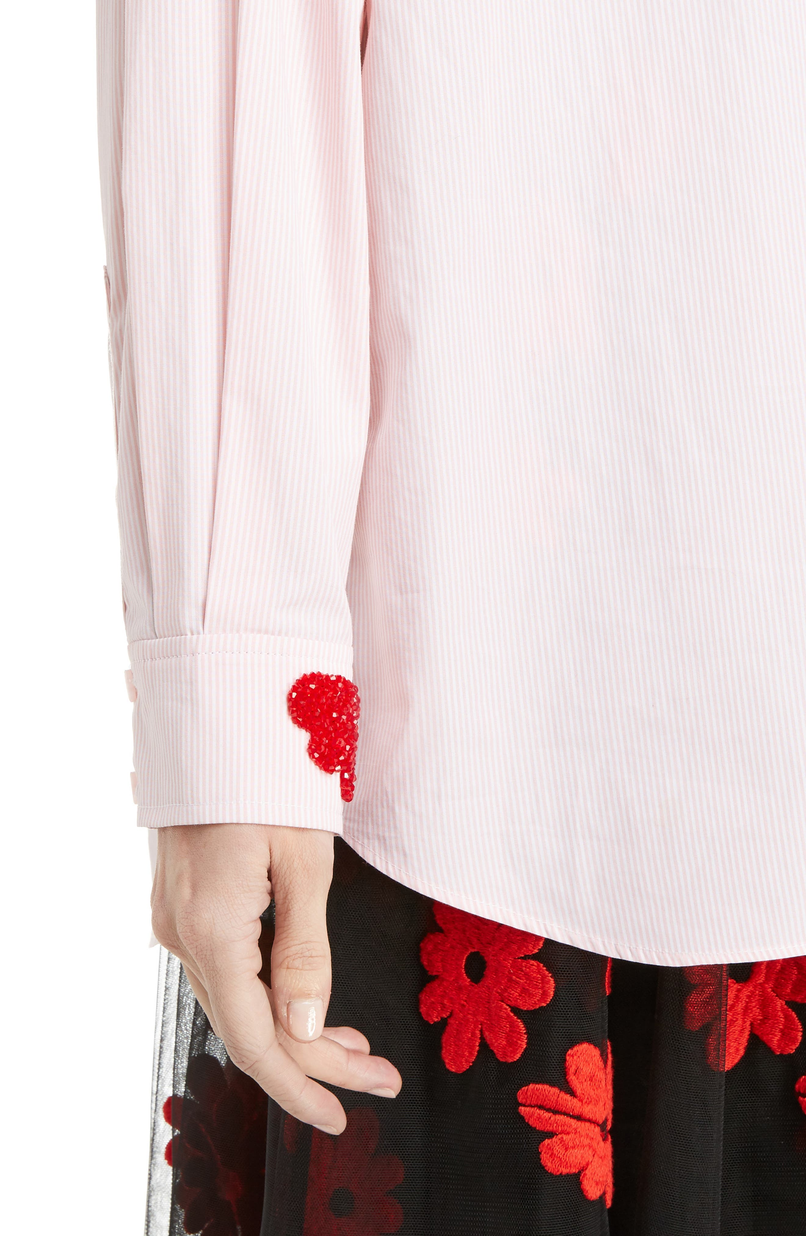 Beaded Pinstripe Shirt,                             Alternate thumbnail 4, color,                             Pink White Red
