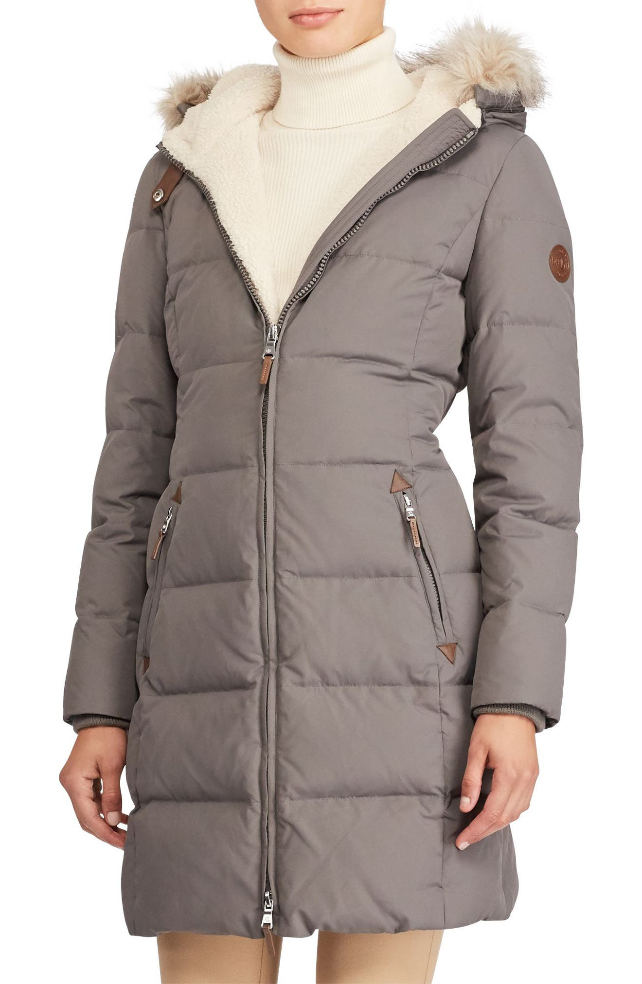 Alternate Image 1 Selected - Lauren Ralph Lauren Quilted Parka (Regular & Petite)