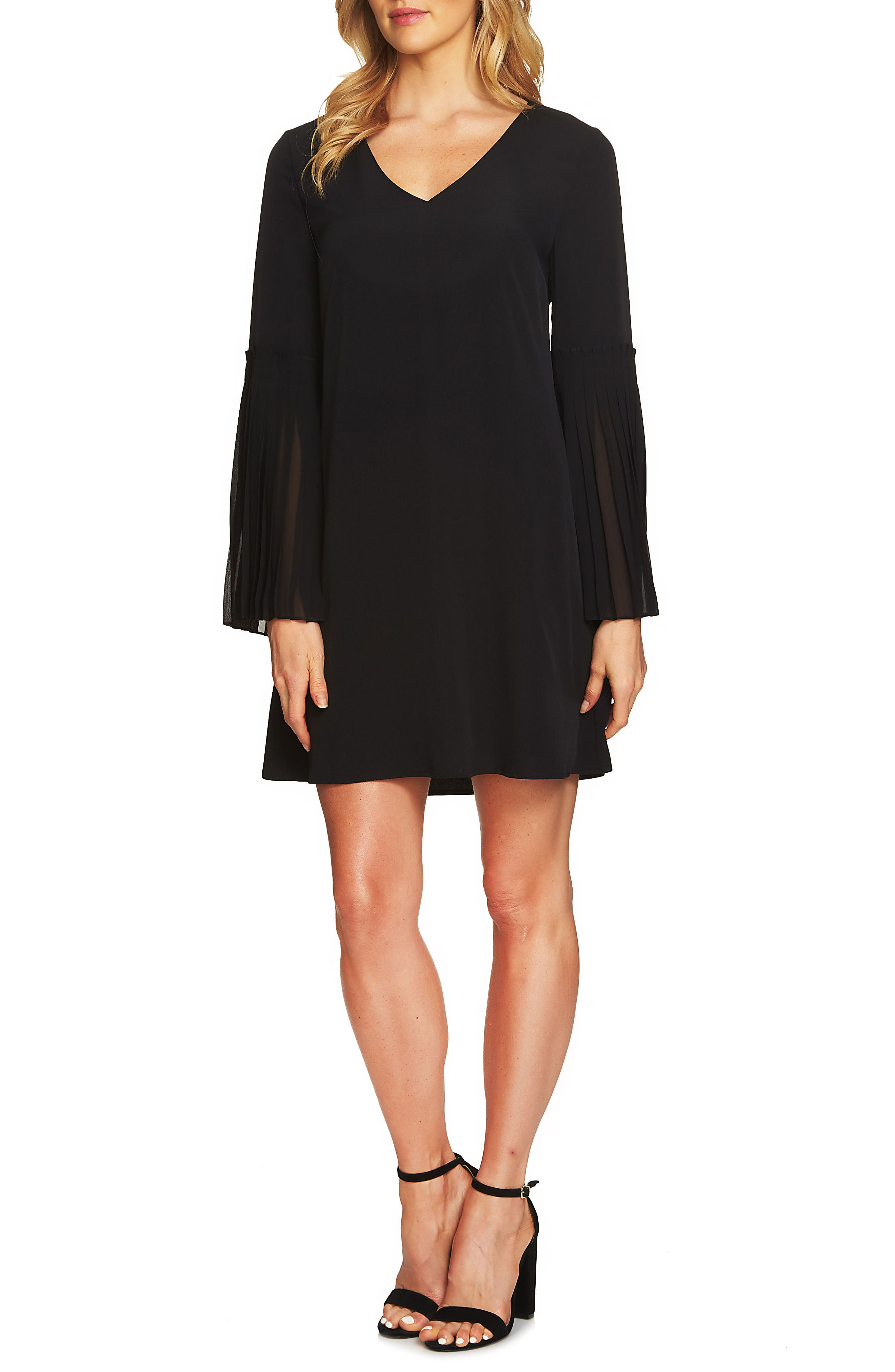 Madeline Bell Sleeve Shift Dress,                             Alternate thumbnail 2, color,                             Rich Black