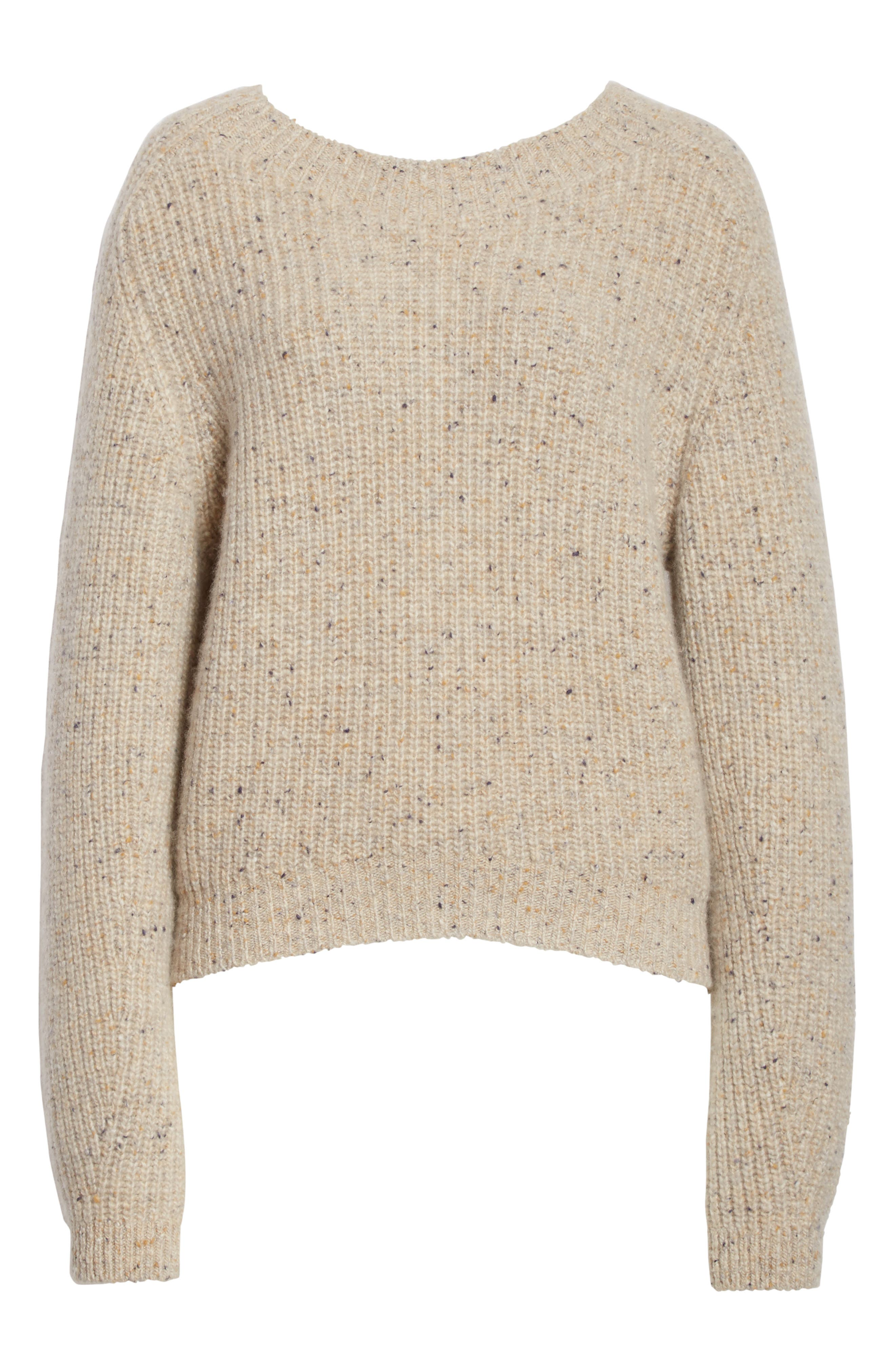 Saddle Sleeve Cashmere Sweater,                             Alternate thumbnail 6, color,                             Light Cream