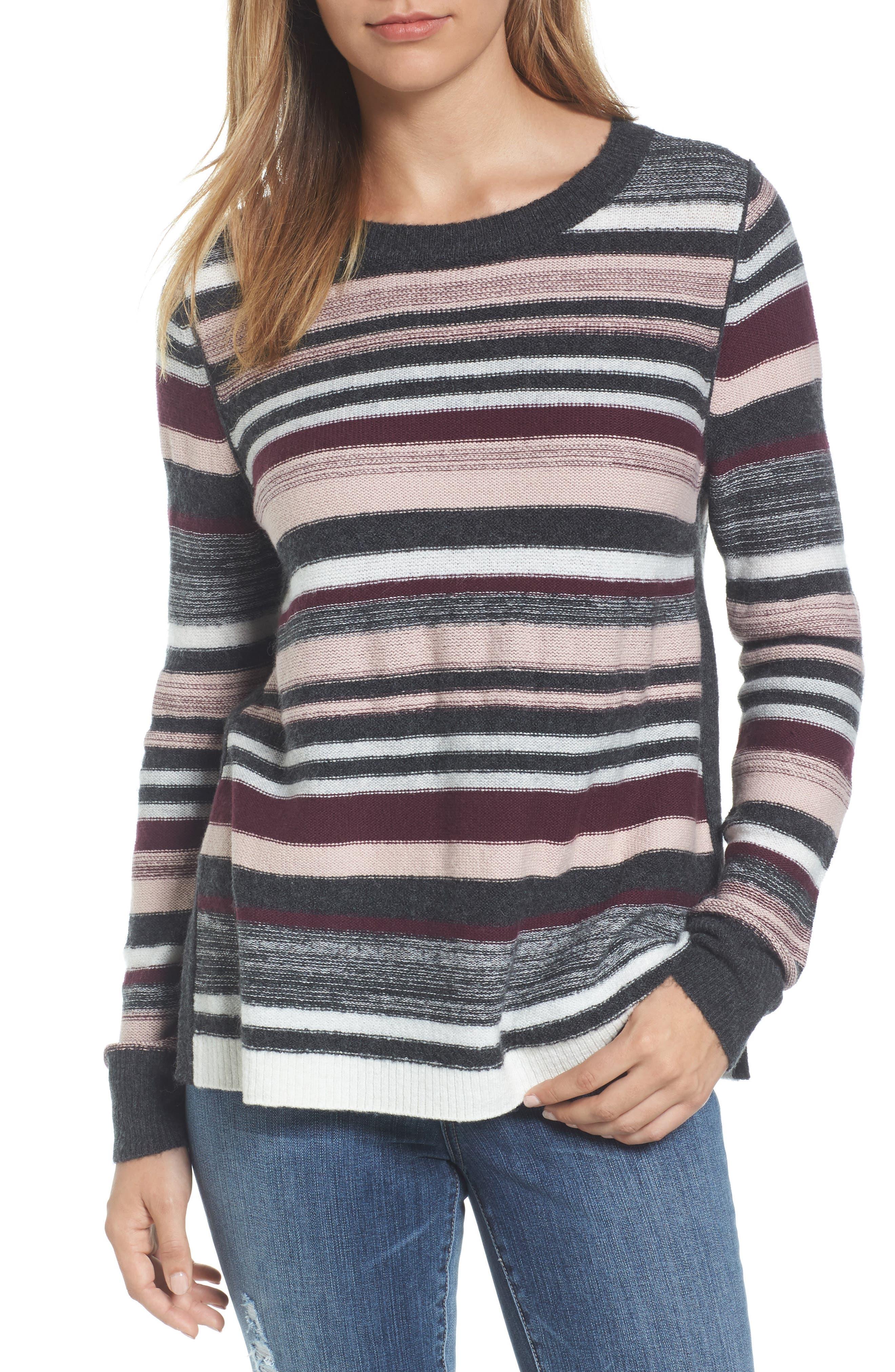 Caslon® Reverse Stripe Sweater (Regular & Petite)