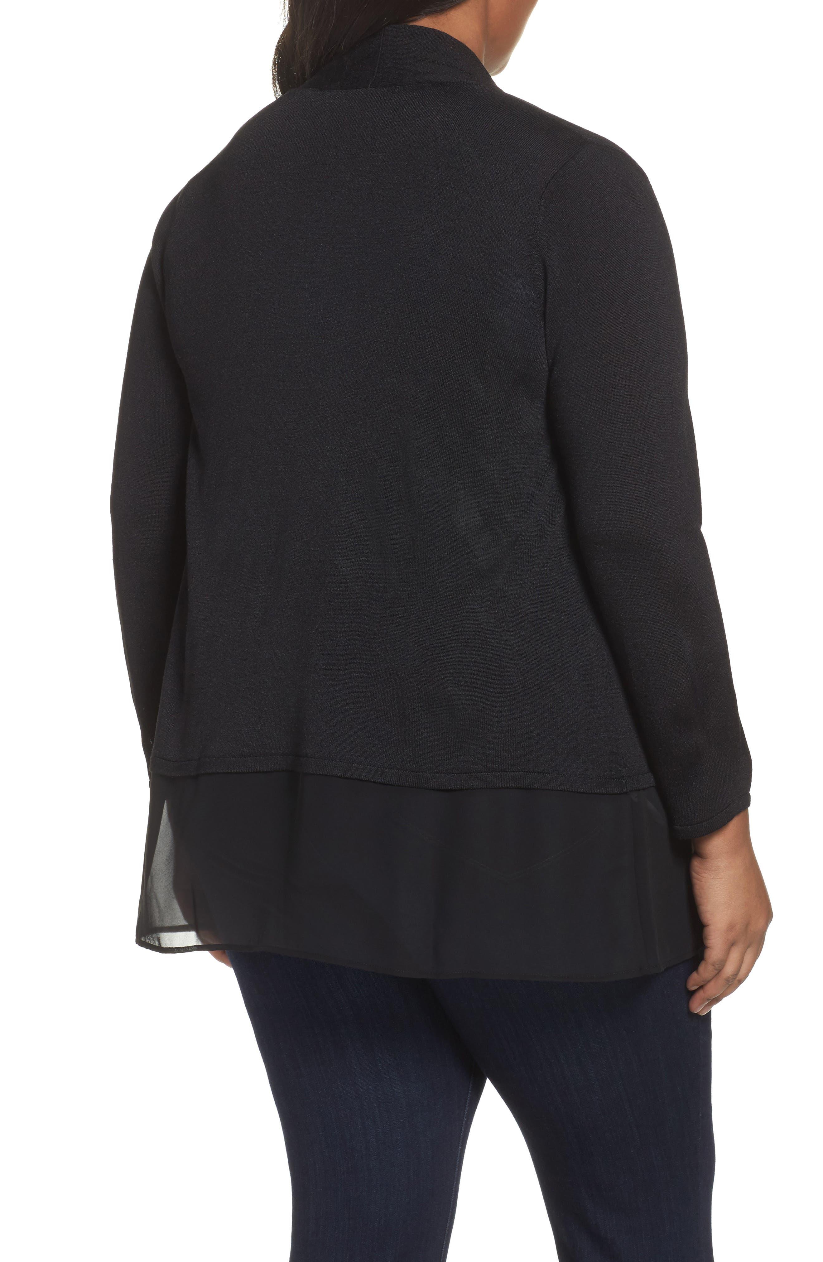 Alternate Image 2  - NIC+ZOE Chiffon Trim Cardigan (Plus Size)