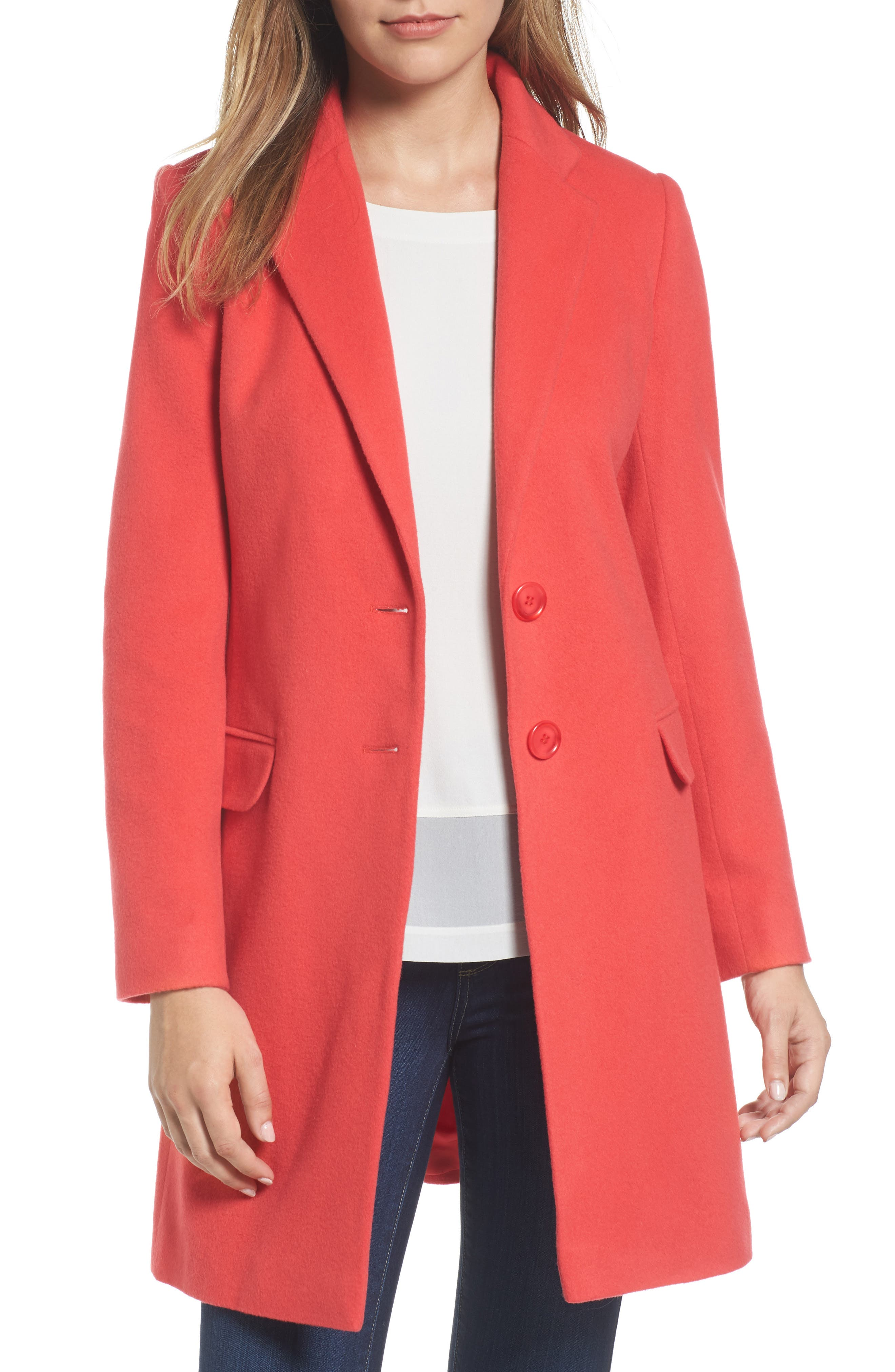 Charles Gray London Wool Blend College Coat,                             Main thumbnail 1, color,                             Coral