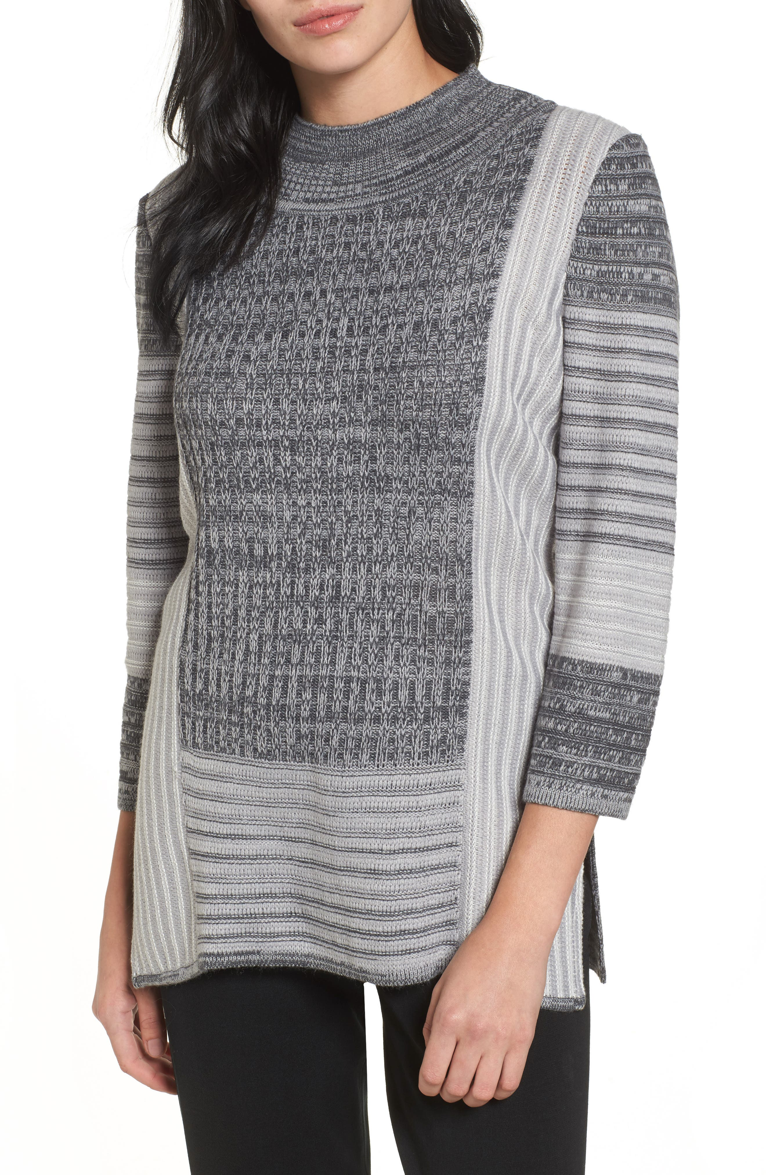 Mixed Knit Tunic Sweater,                         Main,                         color, Sterling/ Granite/ Ivory